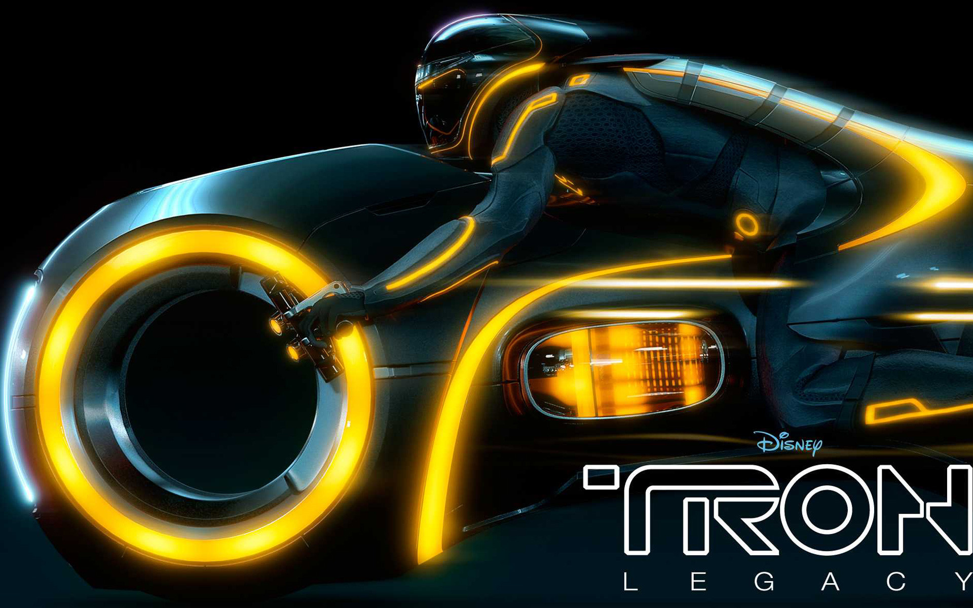 1920x1200 Yellow Light Cycle Disney Tron: Legacy Movie wallpaper - Click picture for  high resolution HD wallpaper