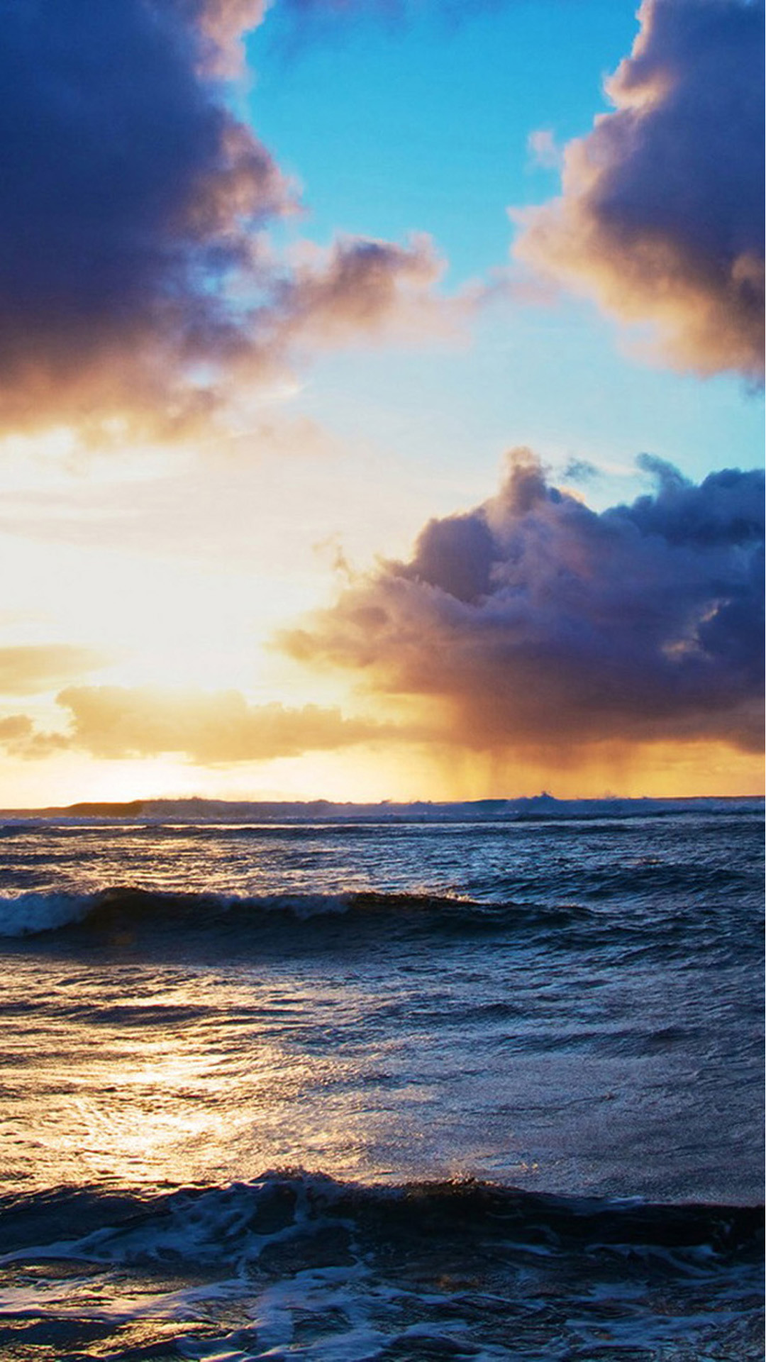 1080x1920 Ocean Beach Surging Wave Cloudy Sunny Skyscape #iPhone #6 #plus #wallpaper