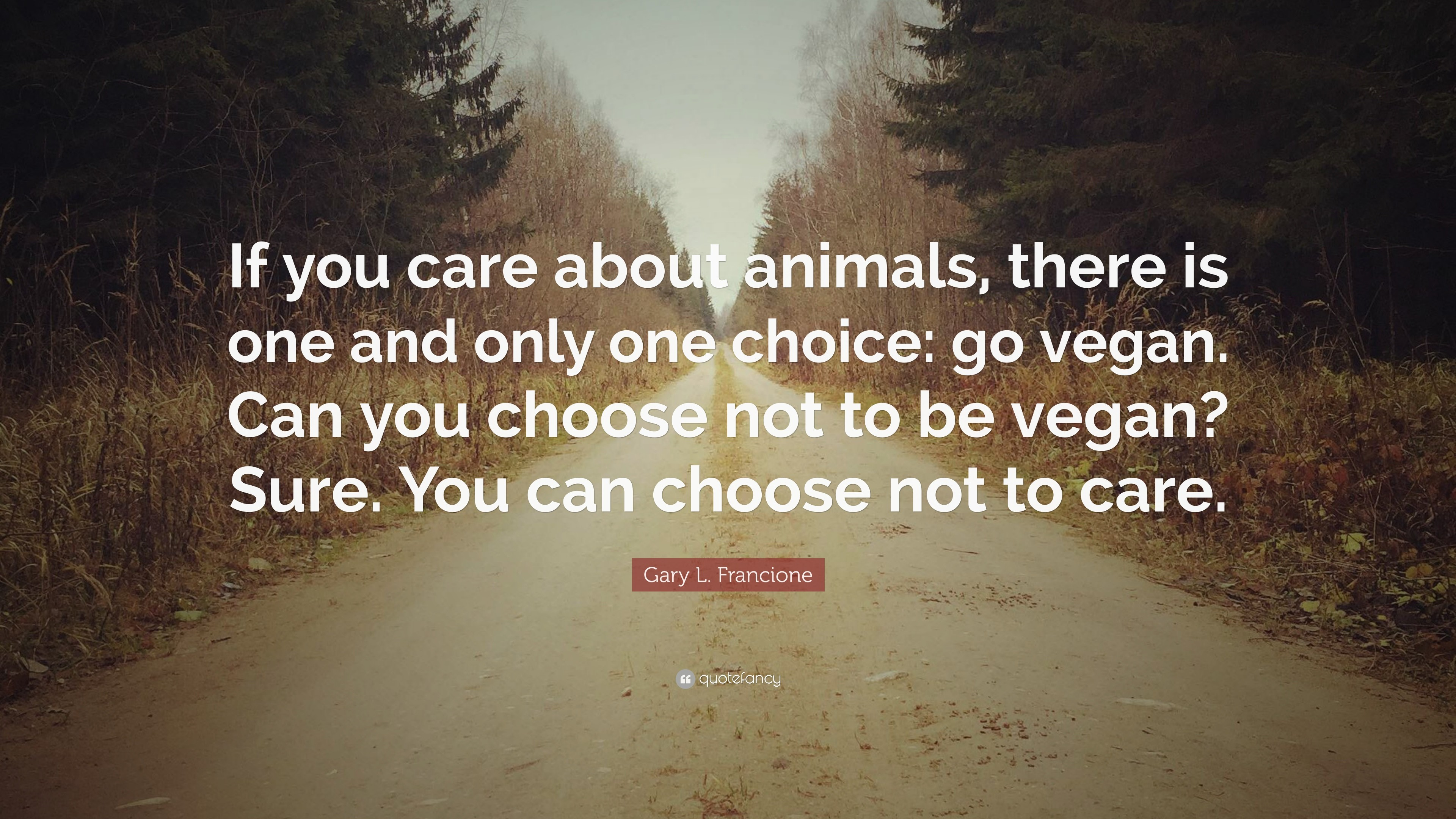 "3840x2160 Gary L. Francione Quote: ""If you care about animals, there is one"