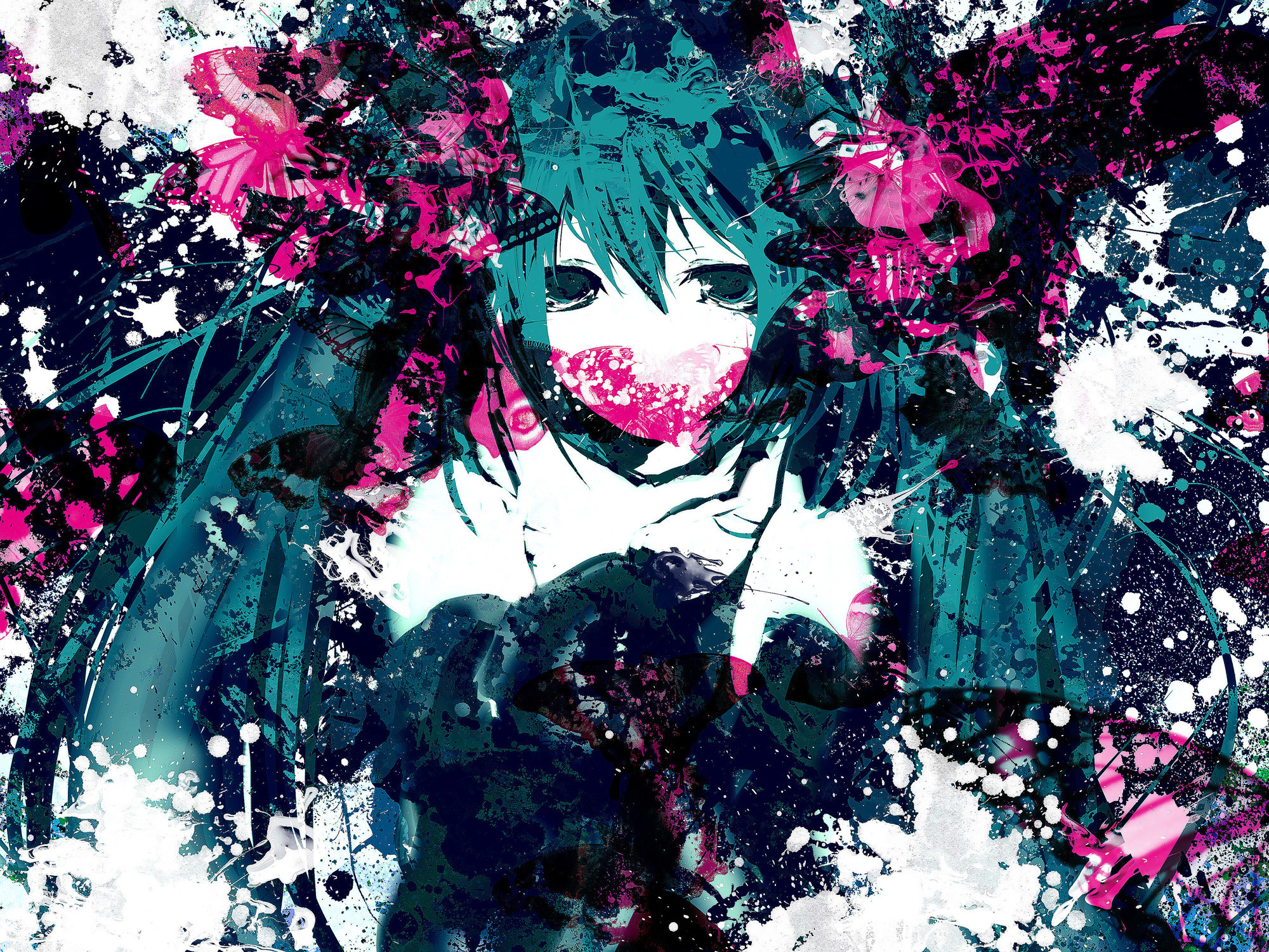 2000x1500 Tags: Anime, Meola, VOCALOID, Hatsune Miku, Abstract Background,   Wallpaper