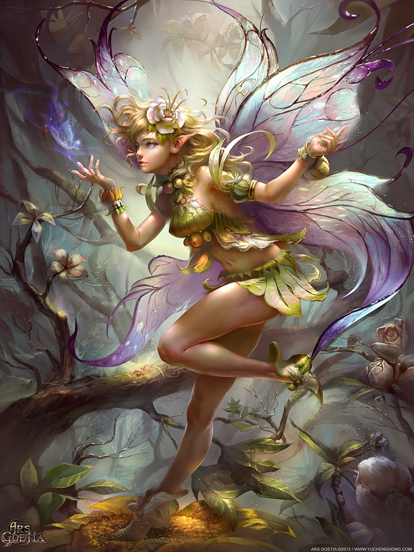 1440x1921 Fairy Fantasy Forest Tree Flower Girl Wings Wallpaper At Fantasy Wallpapers