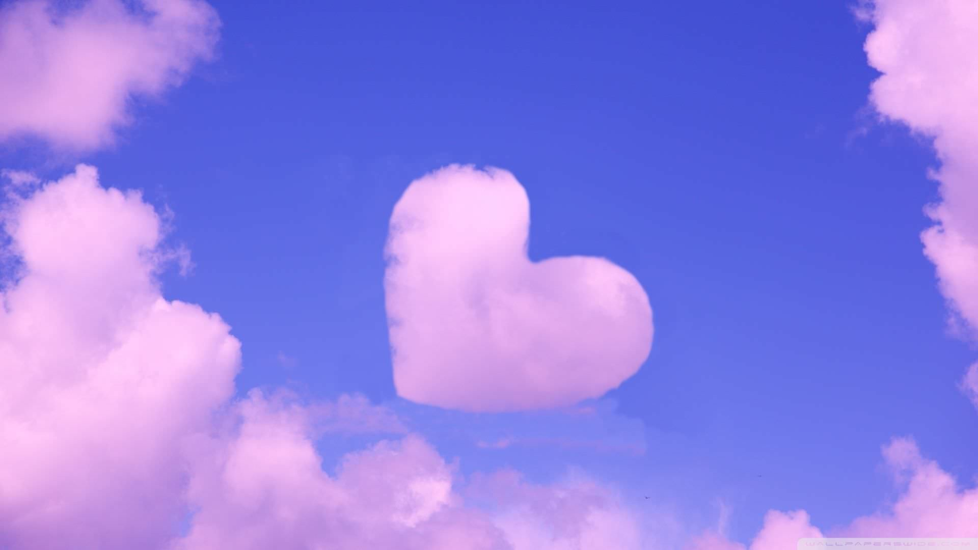 1920x1080 Pink Heart in Sky Background