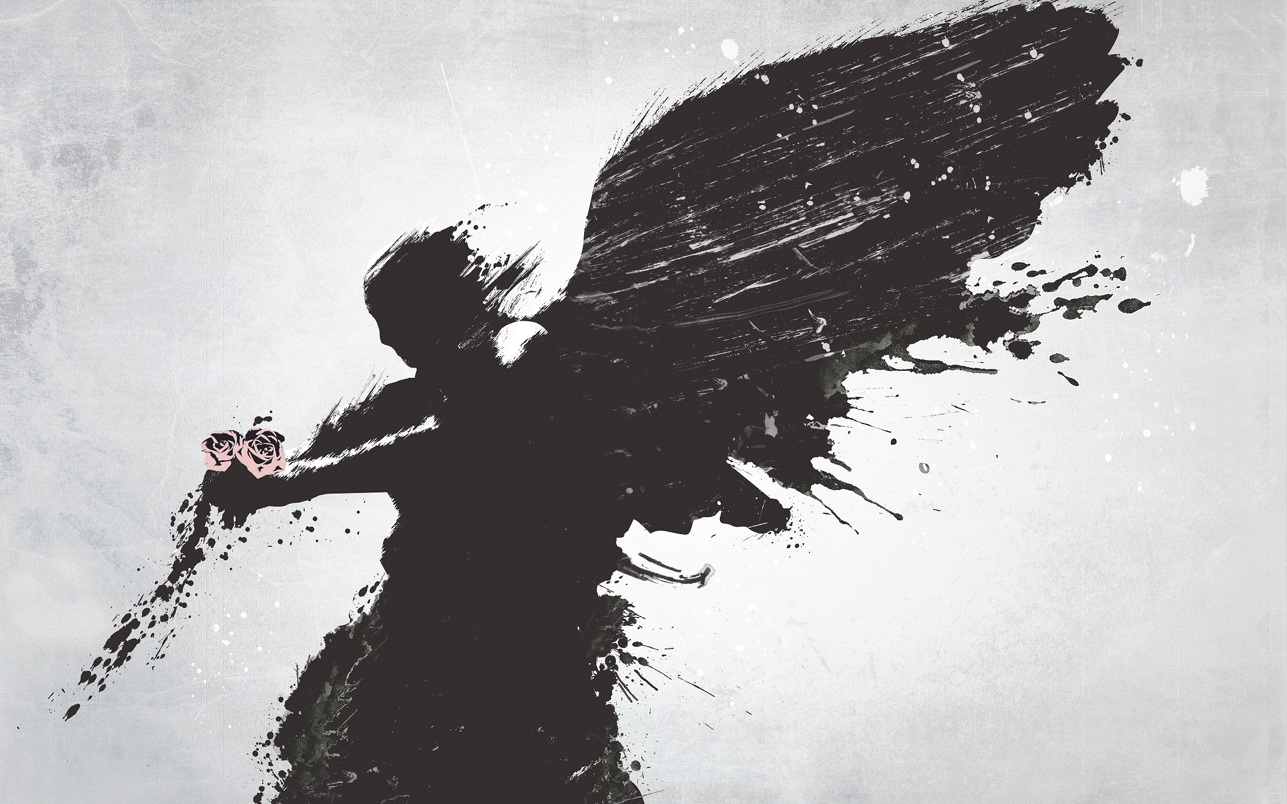 2560x1600 Wallpaper Angel, Wings, Flower, Vector