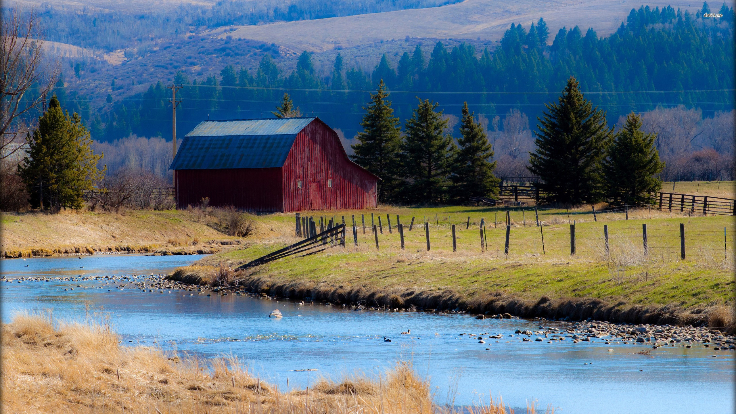 2560x1440 ... Red barn by the river wallpaper  ...