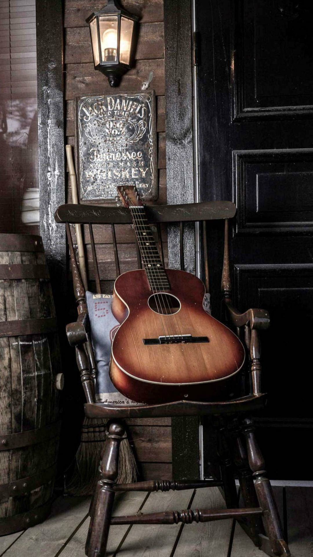 1080x1920 Old Guitar On Chair #iPhone #7 #wallpaper