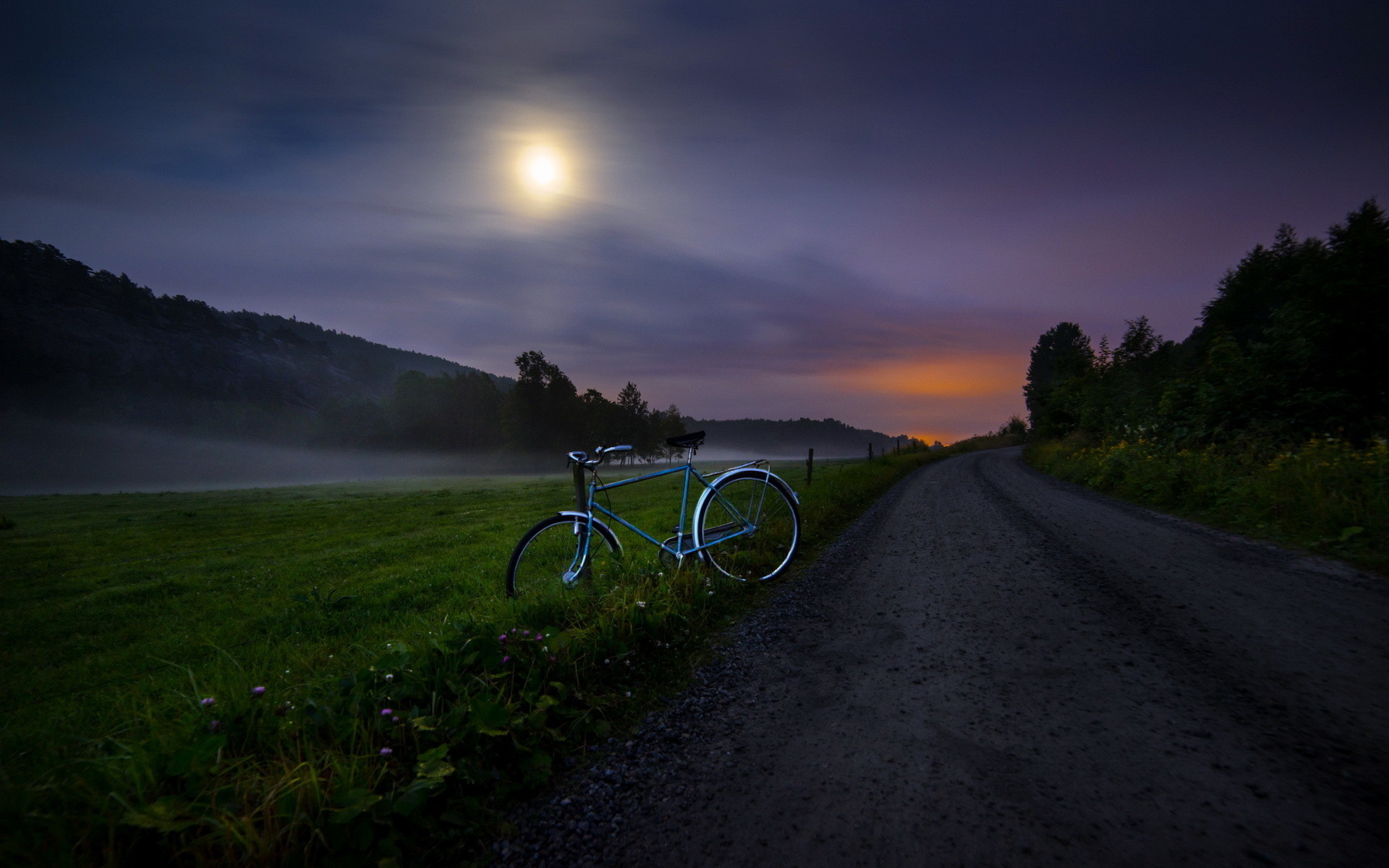 1920x1200 Bike, country road, night, clouds and fog: