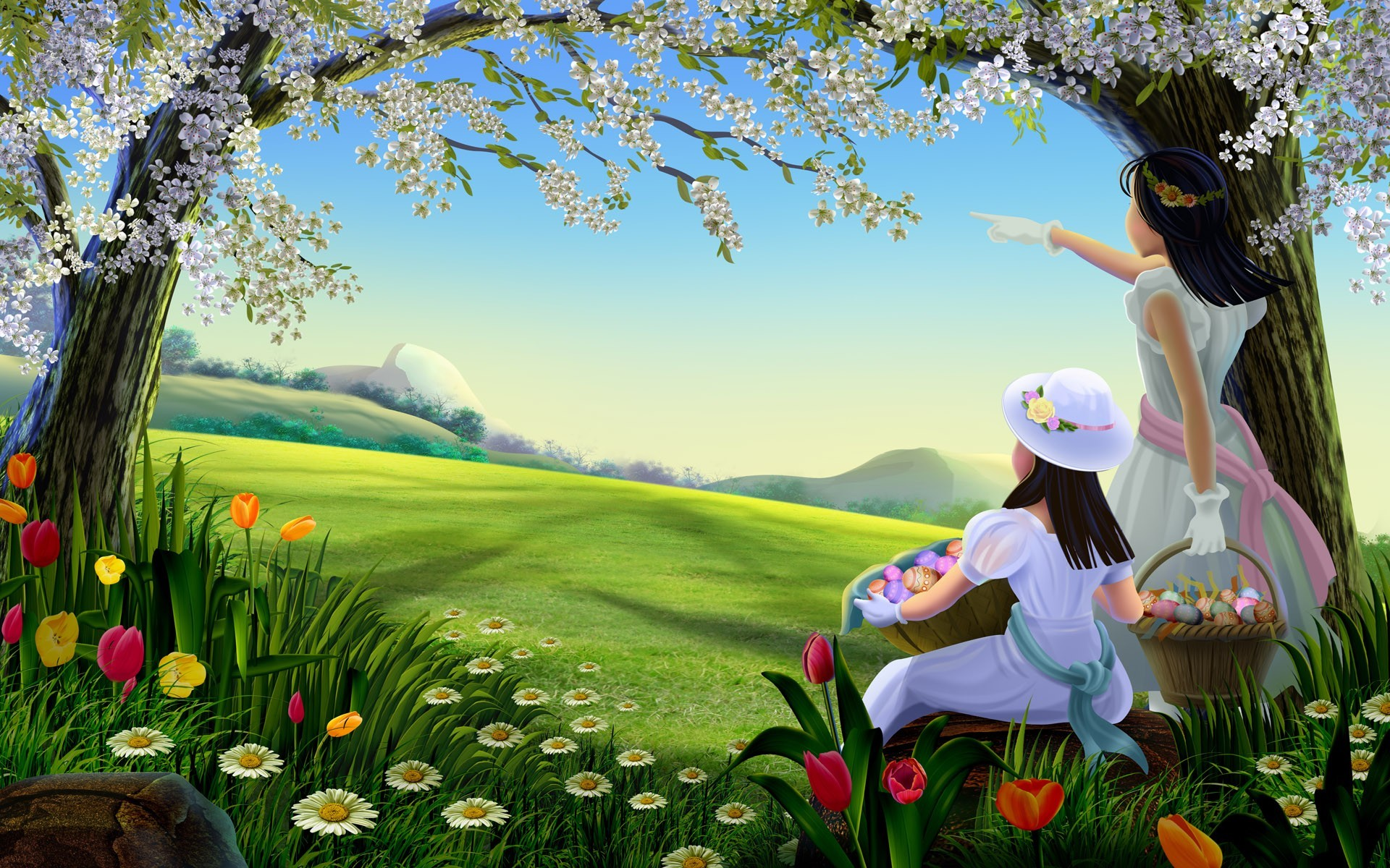 1920x1200 Spring Easter Picnic Nature Background