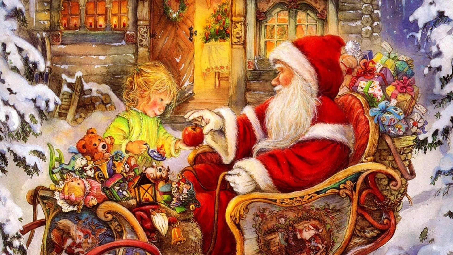 1920x1080  Wallpaper santa claus, sleigh, baby, apple, gifts, holiday,  christmas