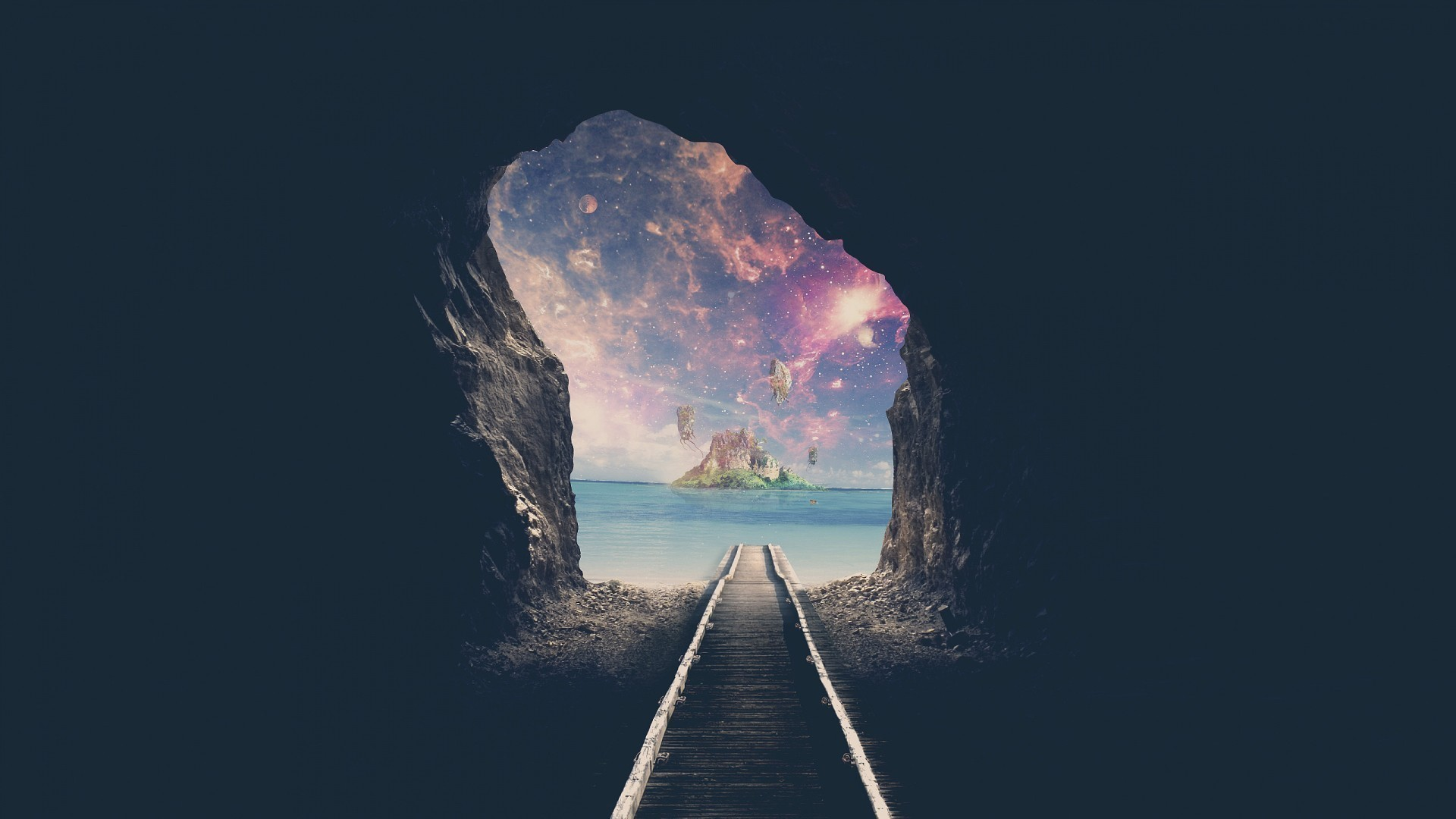 1920x1080  Wallpaper tunnel, space, road, cave