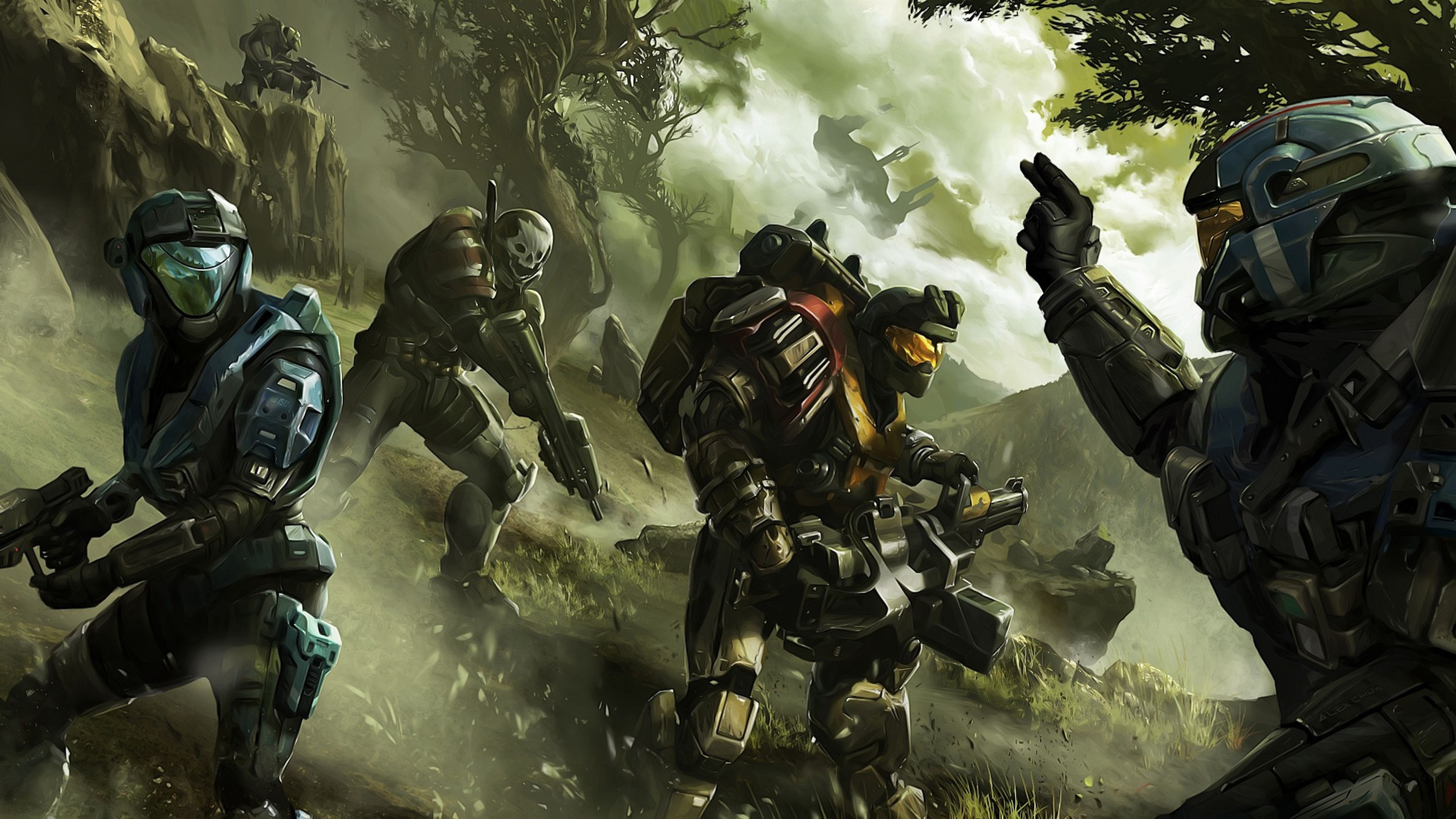 3840x2160 Halo-wallpaper-soldier-commander-trees-
