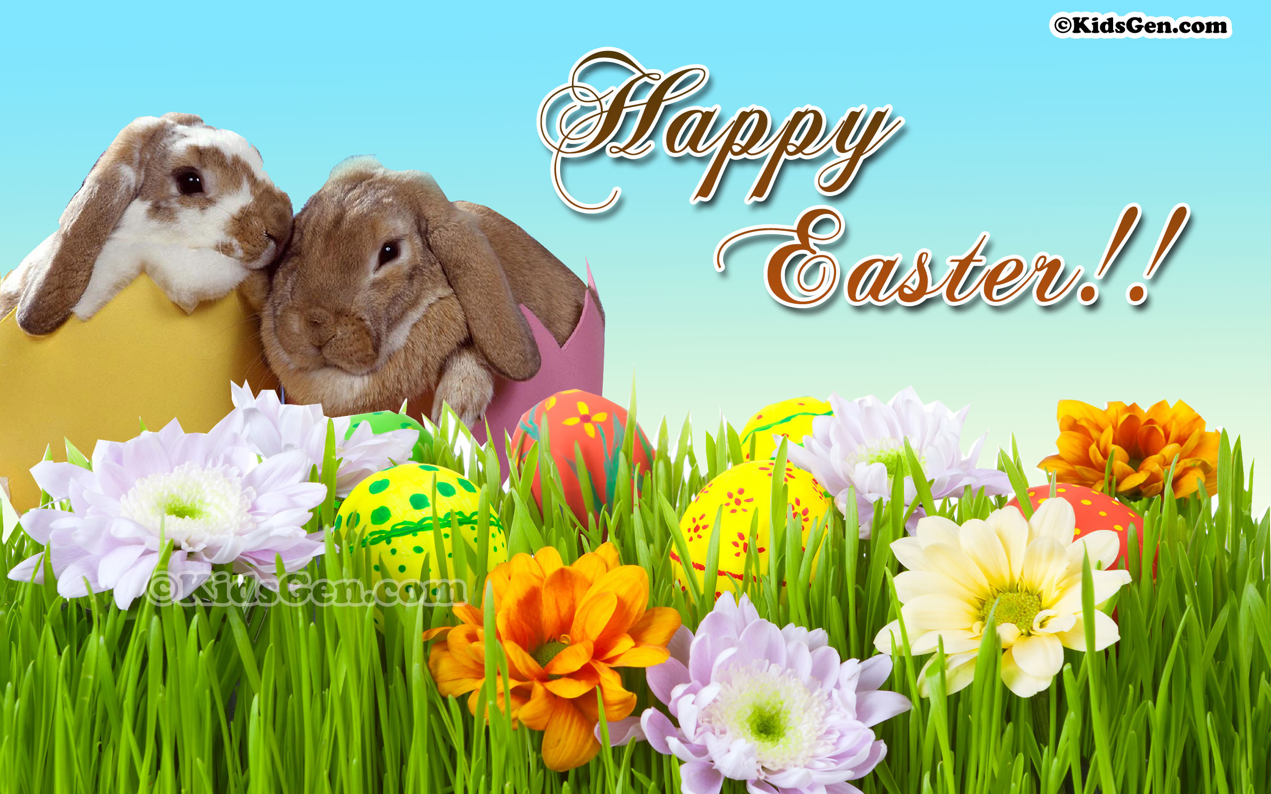 2560x1600 HD Wallpaper for kids with Happy Easter wishes