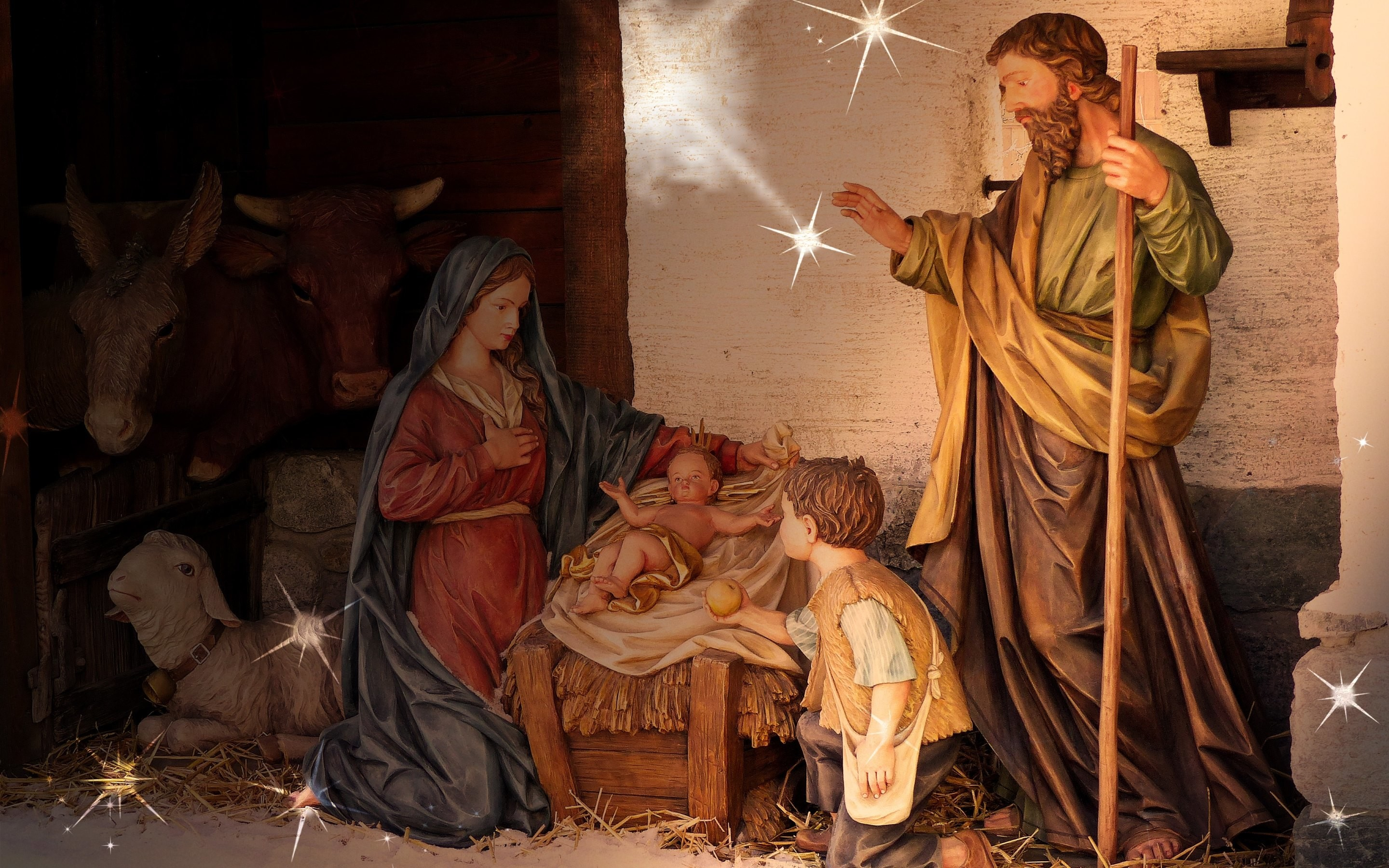 2880x1800 HD Wallpaper: Birth of Jesus scene at every Christmas