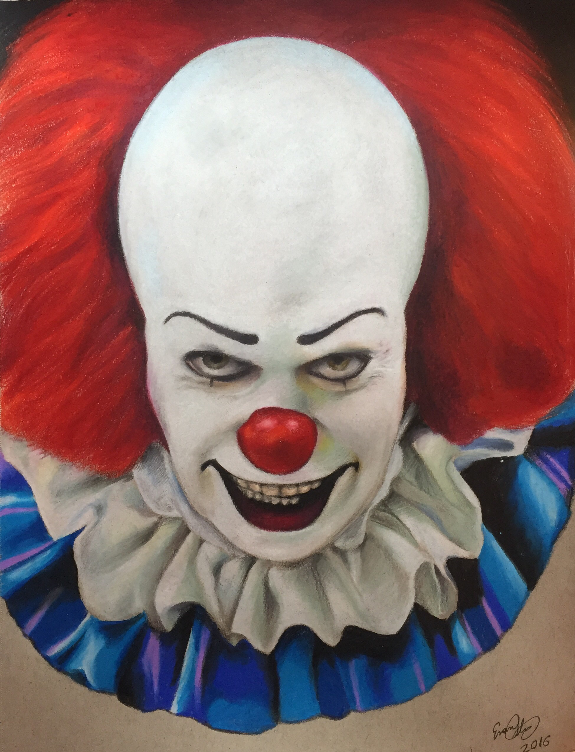 1949x2547 ... Pennywise the clown colored pencil drawing by evanartt