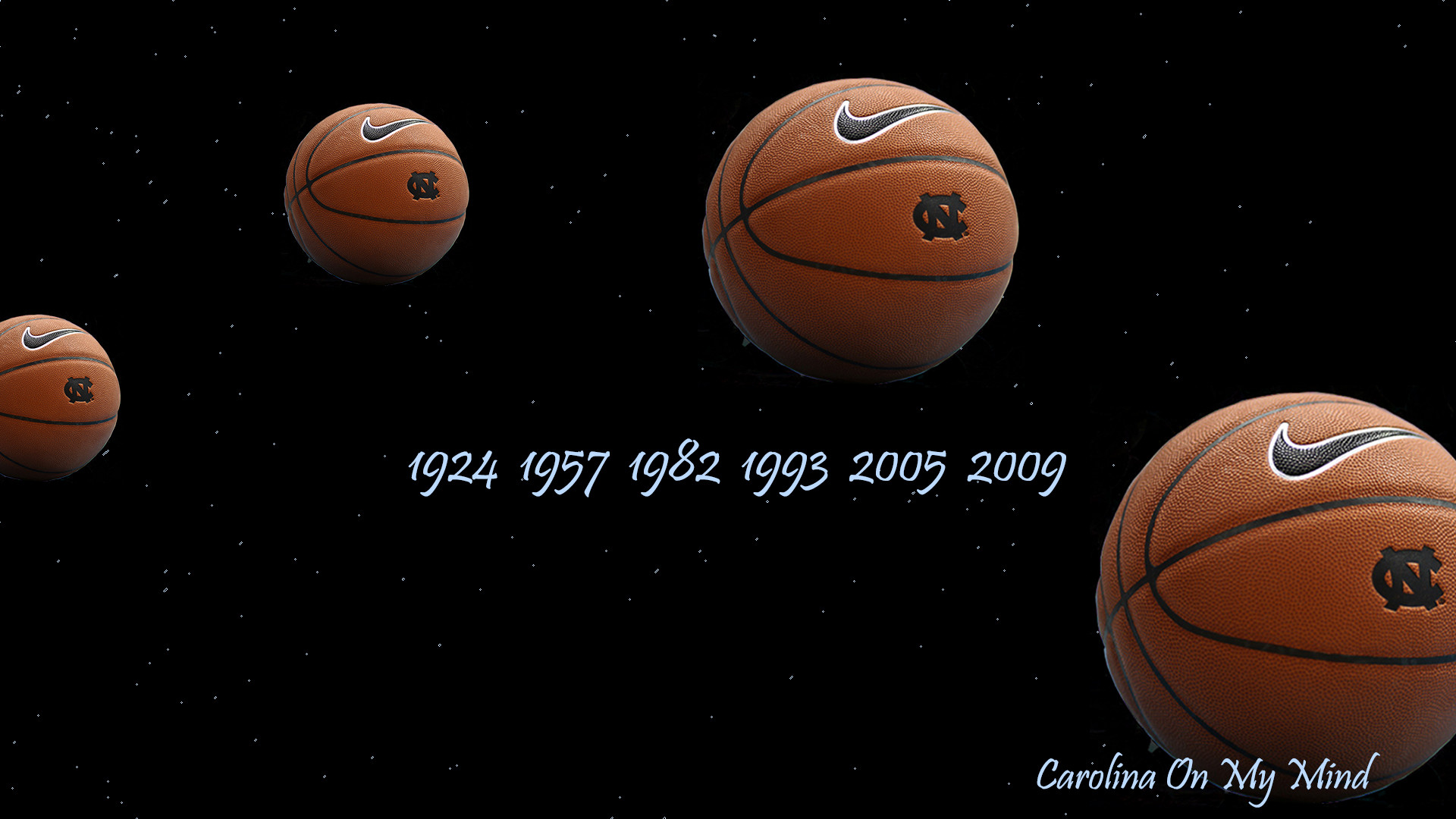1920x1080 UNC Desktop Wallpaper - Basketballs in Dark Sky