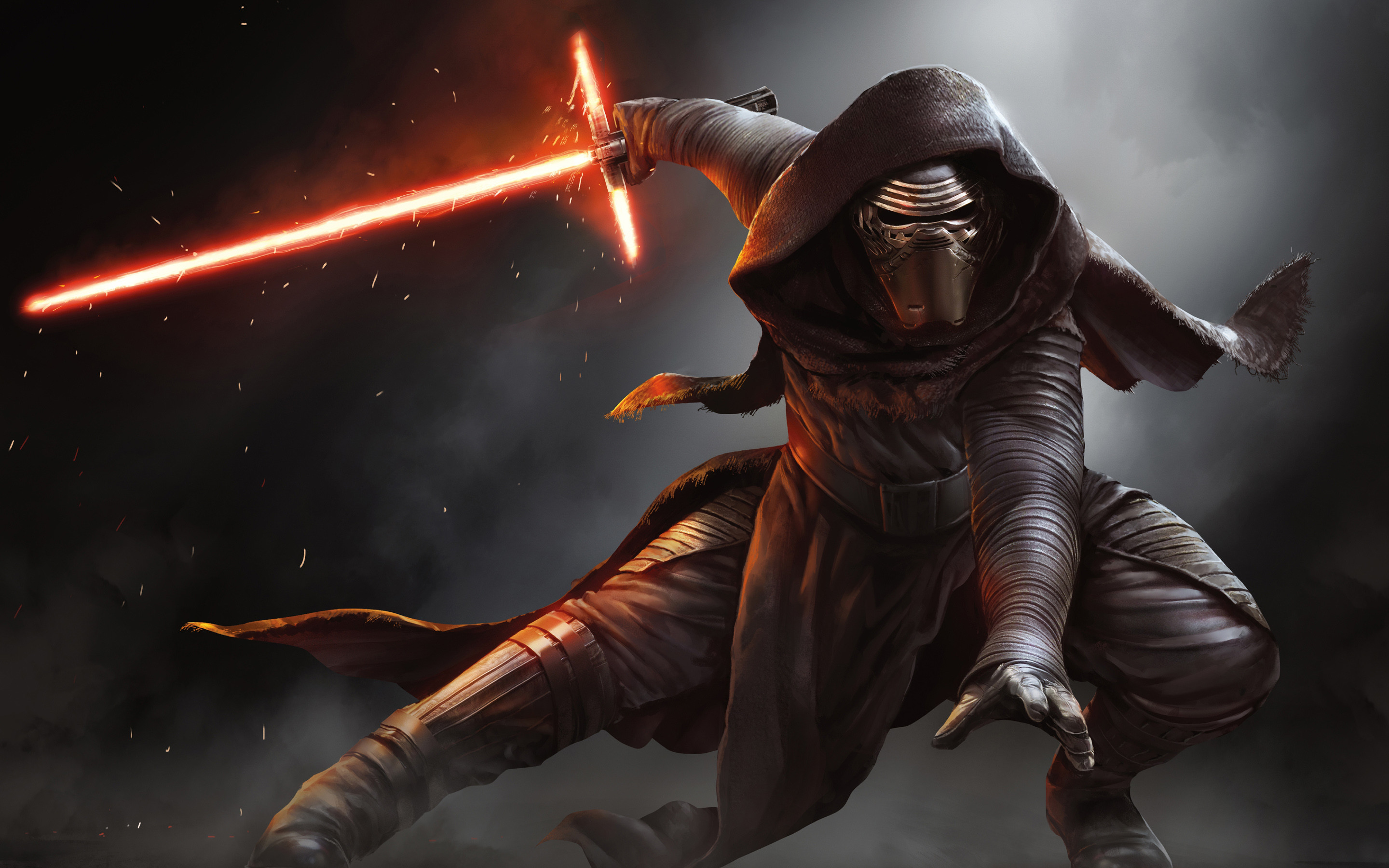 2880x1800 Kylo Ren Lightsaber Wallpaper