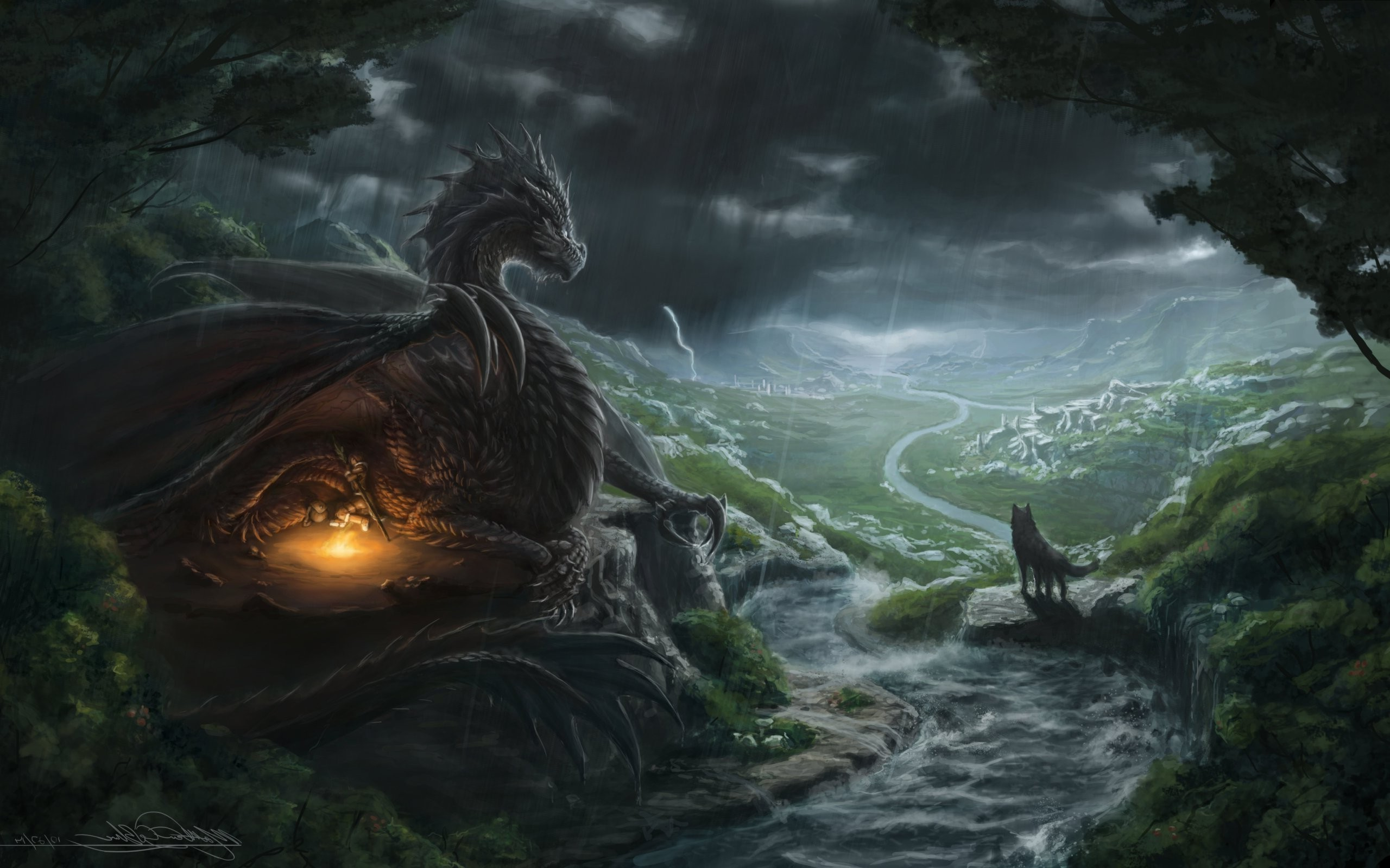 2560x1600 fantasy Art, Dragon, Wolf, River Wallpapers HD / Desktop and Mobile  Backgrounds