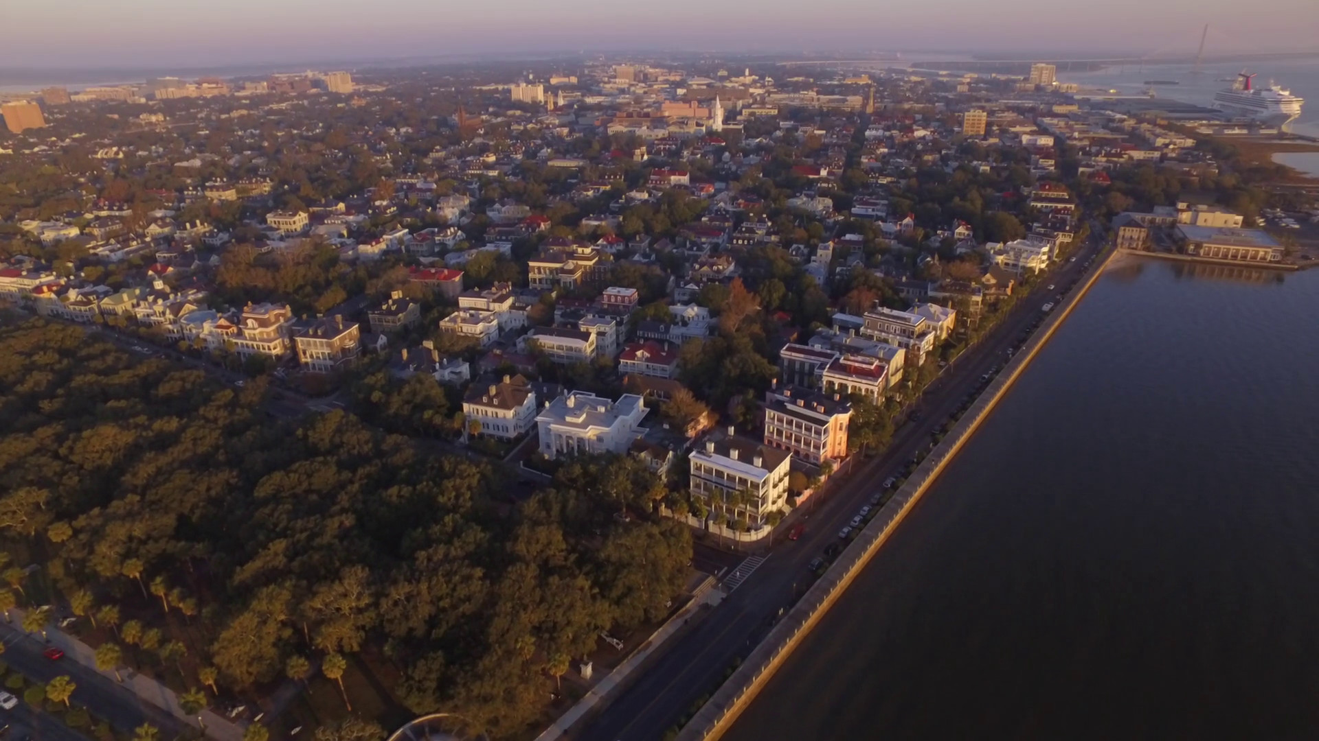 1920x1080 Aerial Perspective of Downtown Charleston SC at Sunrise Stock Video Footage  - Storyblocks Video
