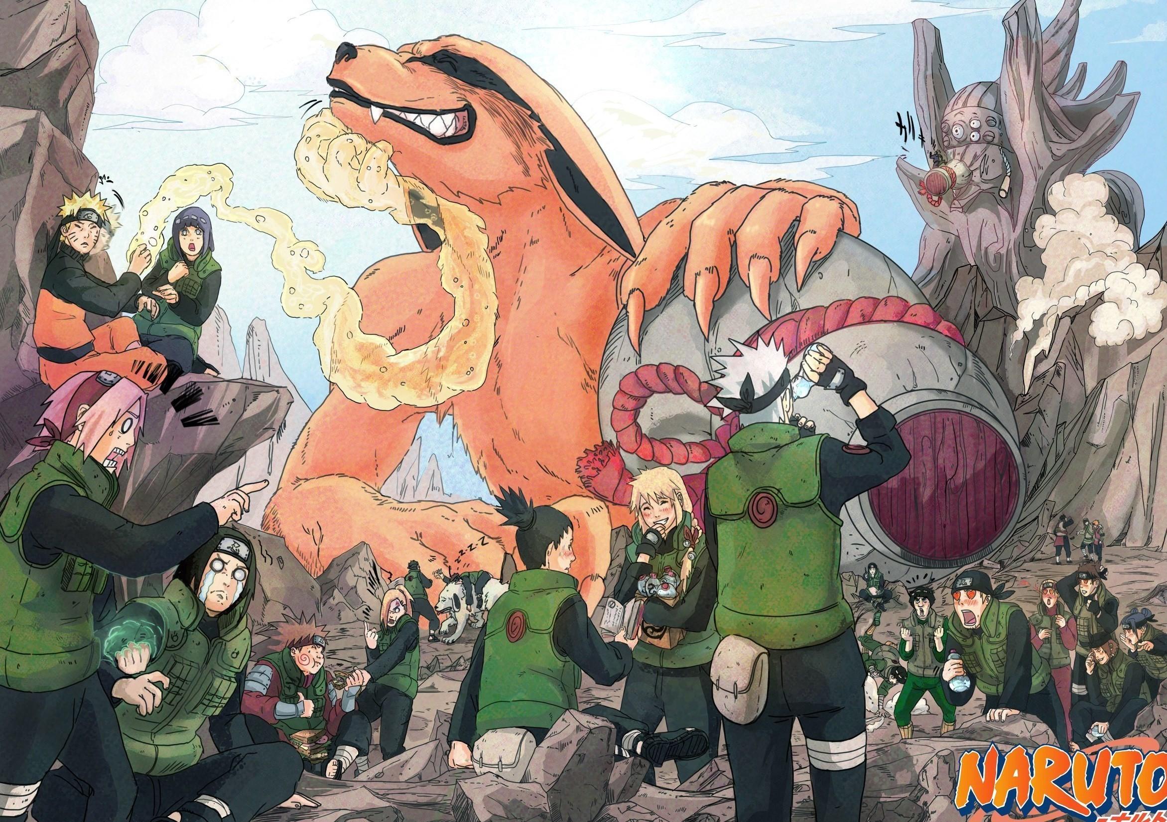 2343x1650 Anime - Naruto Kurama (Naruto) Hinata Hyūga Naruto Uzumaki Sakura Haruno