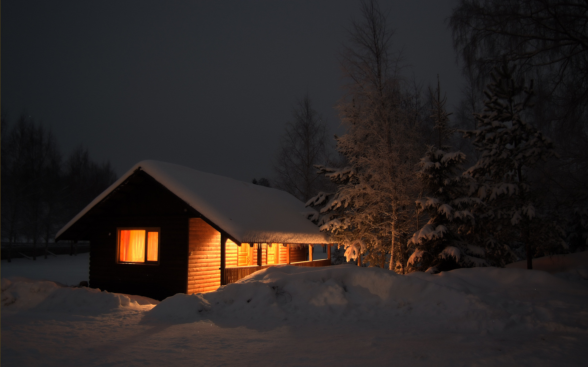 1920x1080 Title. Polar lights over the log cabin