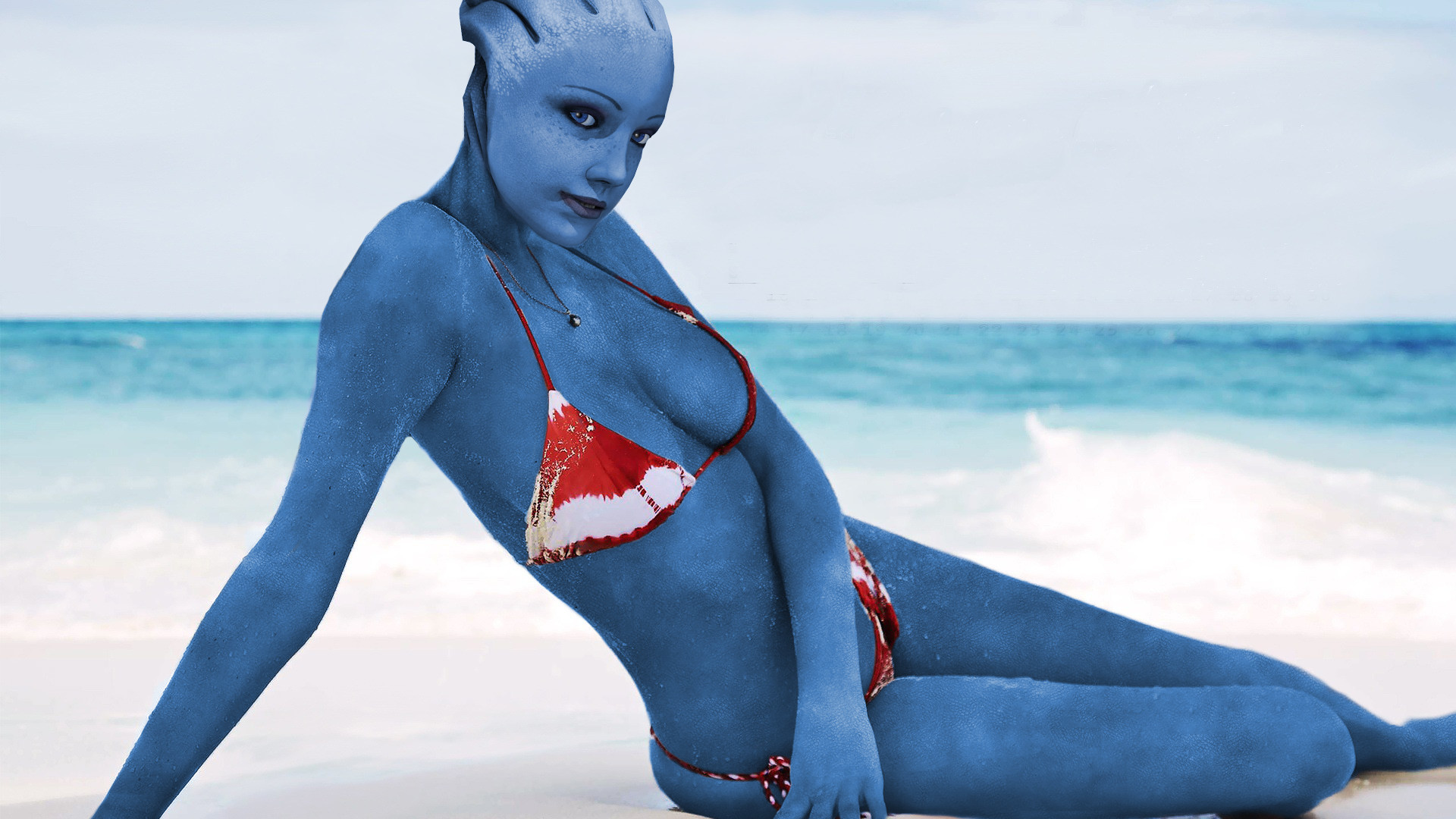 1920x1080 Add media Report RSS Real Life Liara in a Bikini Wallpaper (view original)