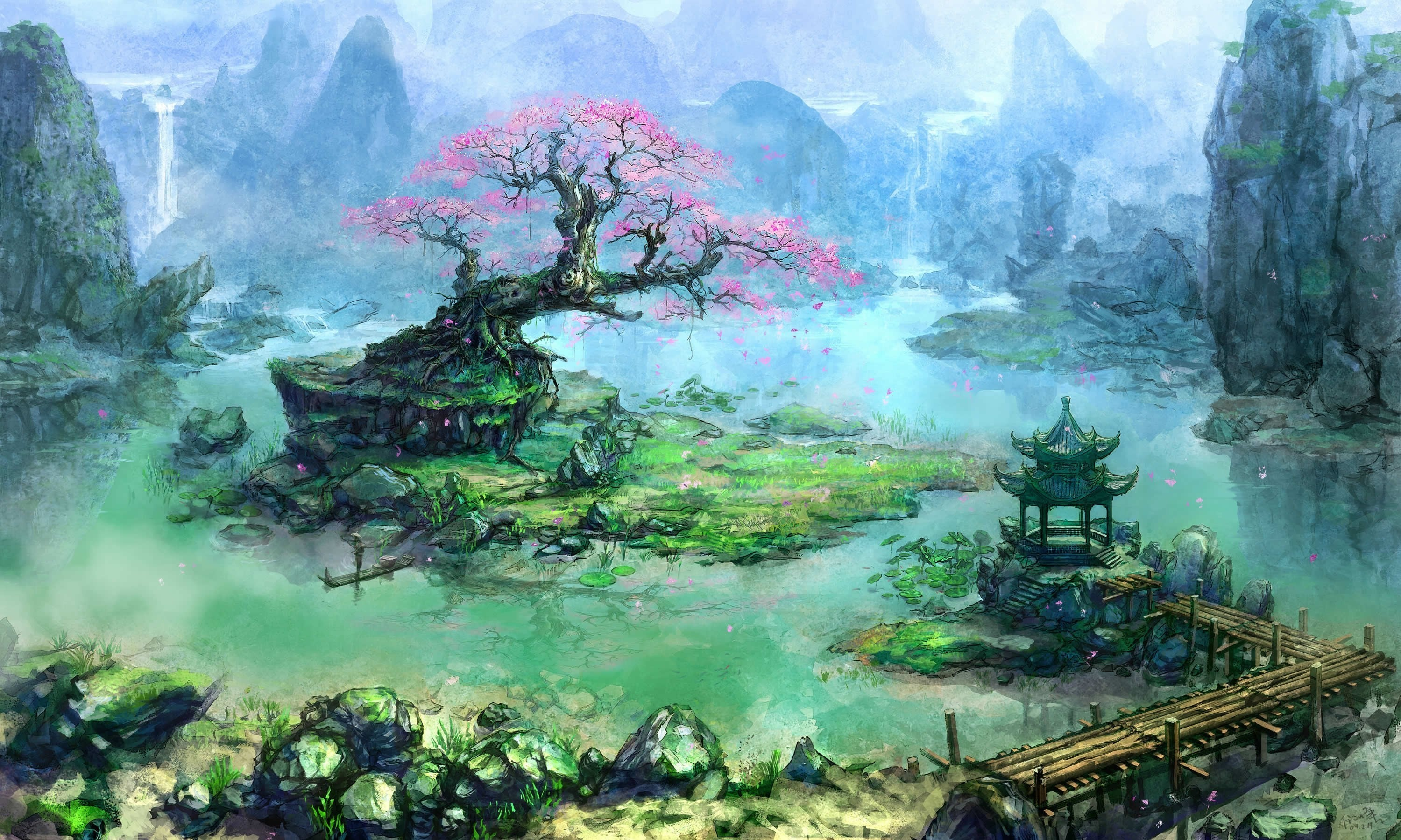 3000x1800 General  artwork fantasy art trees Asian architecture bonsai  waterfall river pier