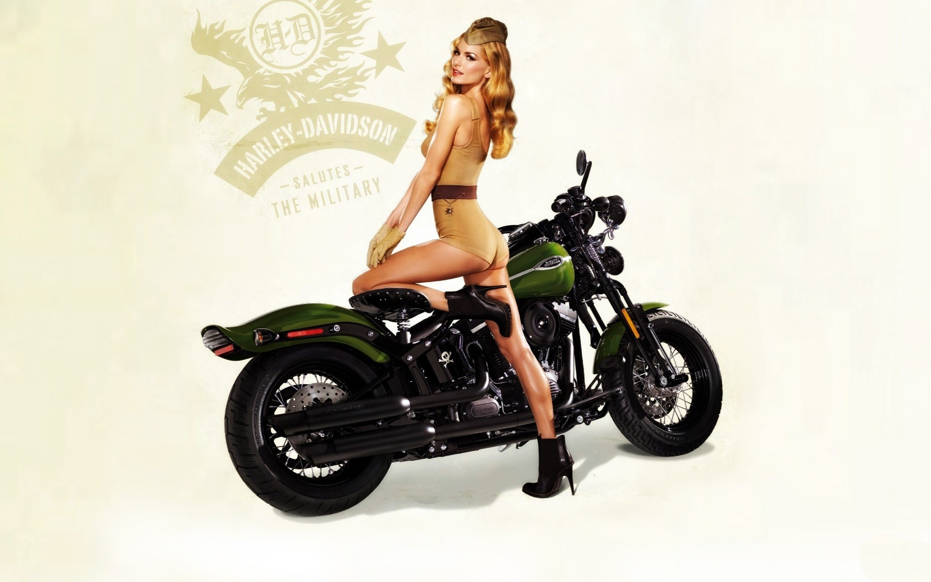 1920x1200 blondes women motorbike vintage pinup harley davidson army girls   wallpaper  of-PhotoBoats.