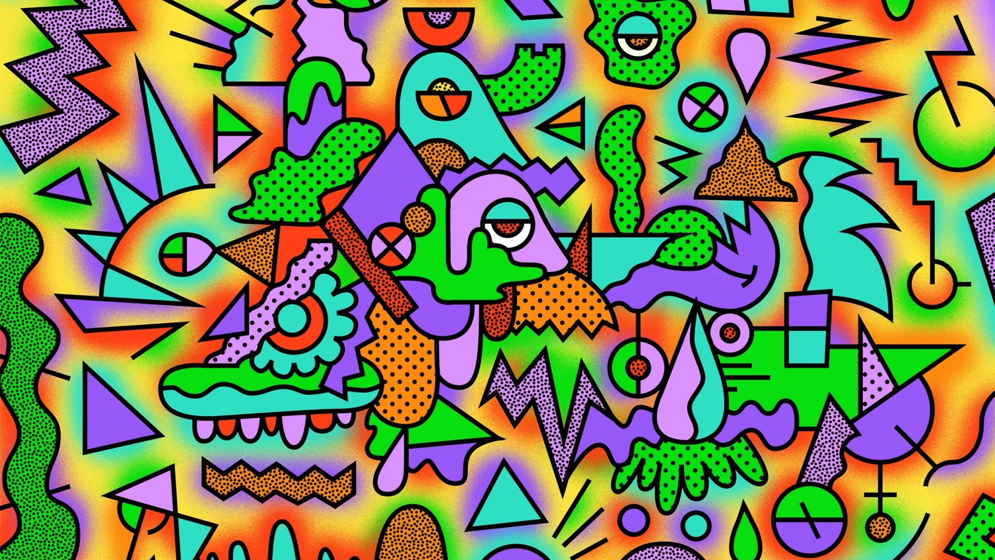 2048x1152  Wallpaper figurines, colorful, drawing, acid