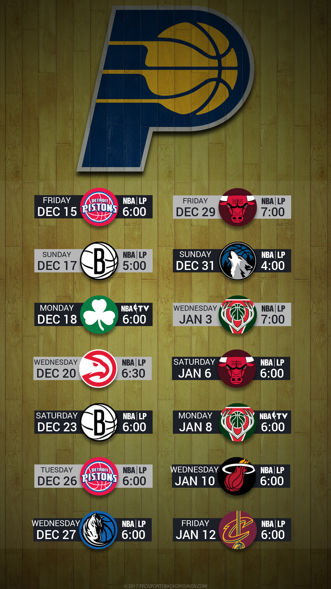 1080x1920 Eastern | Central | Pacific · Indiana Pacers 2017 nba basketball december  hardwood schedule wallpaper ...