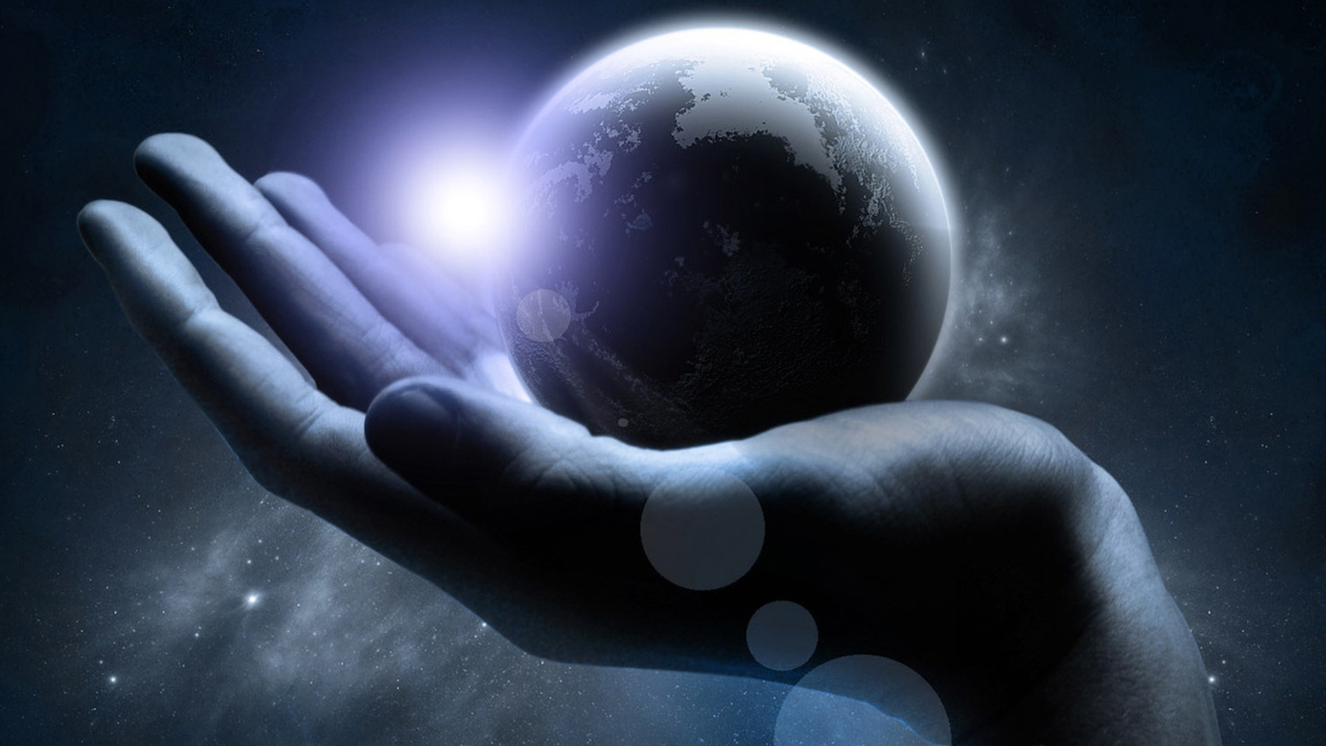 1920x1080 WallpaperUniversity.com :: Alien Hand Holding a Planet in Space .