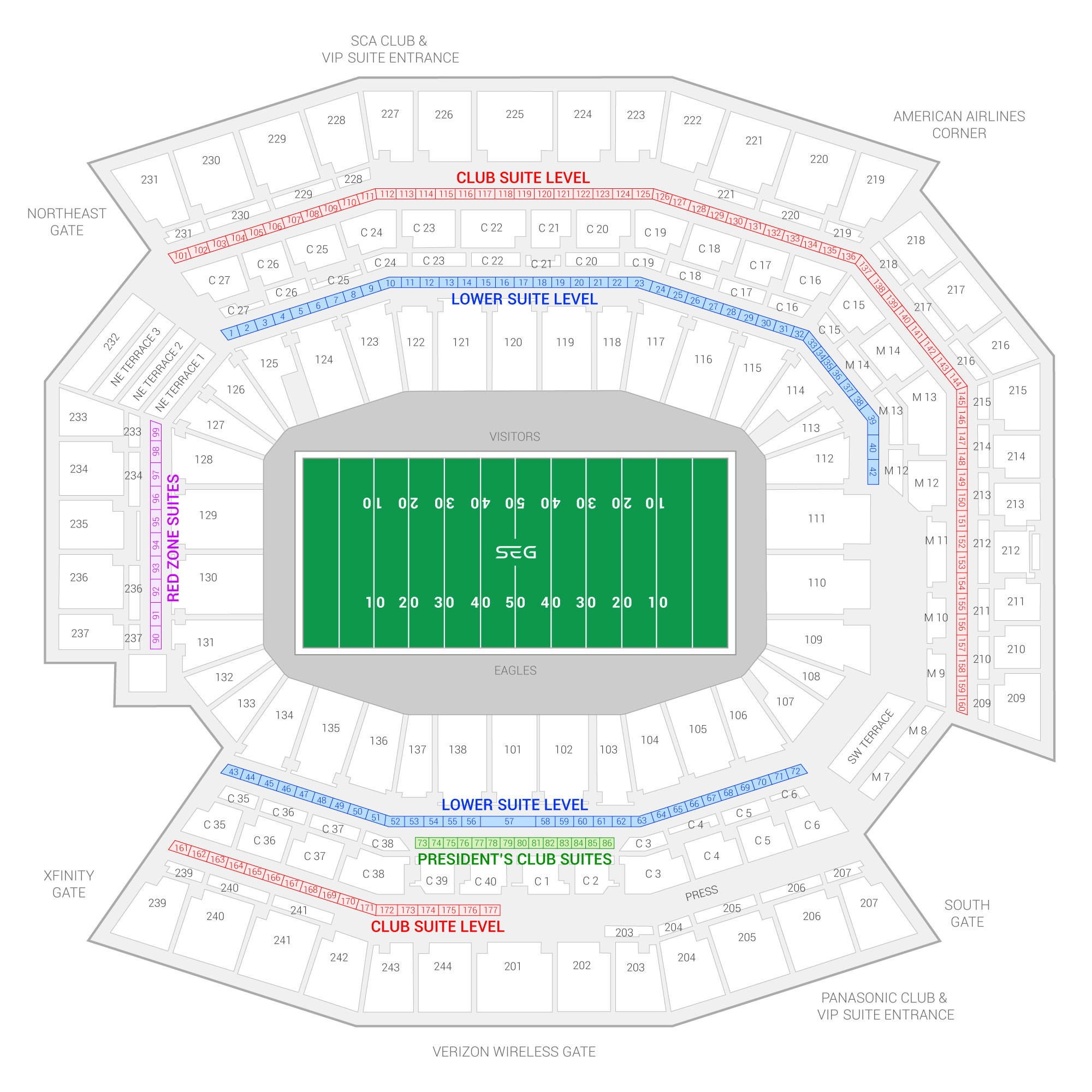 2000x2000 Lincoln Financial Field / Philadelphia Eagles Suite Map and Seating Chart