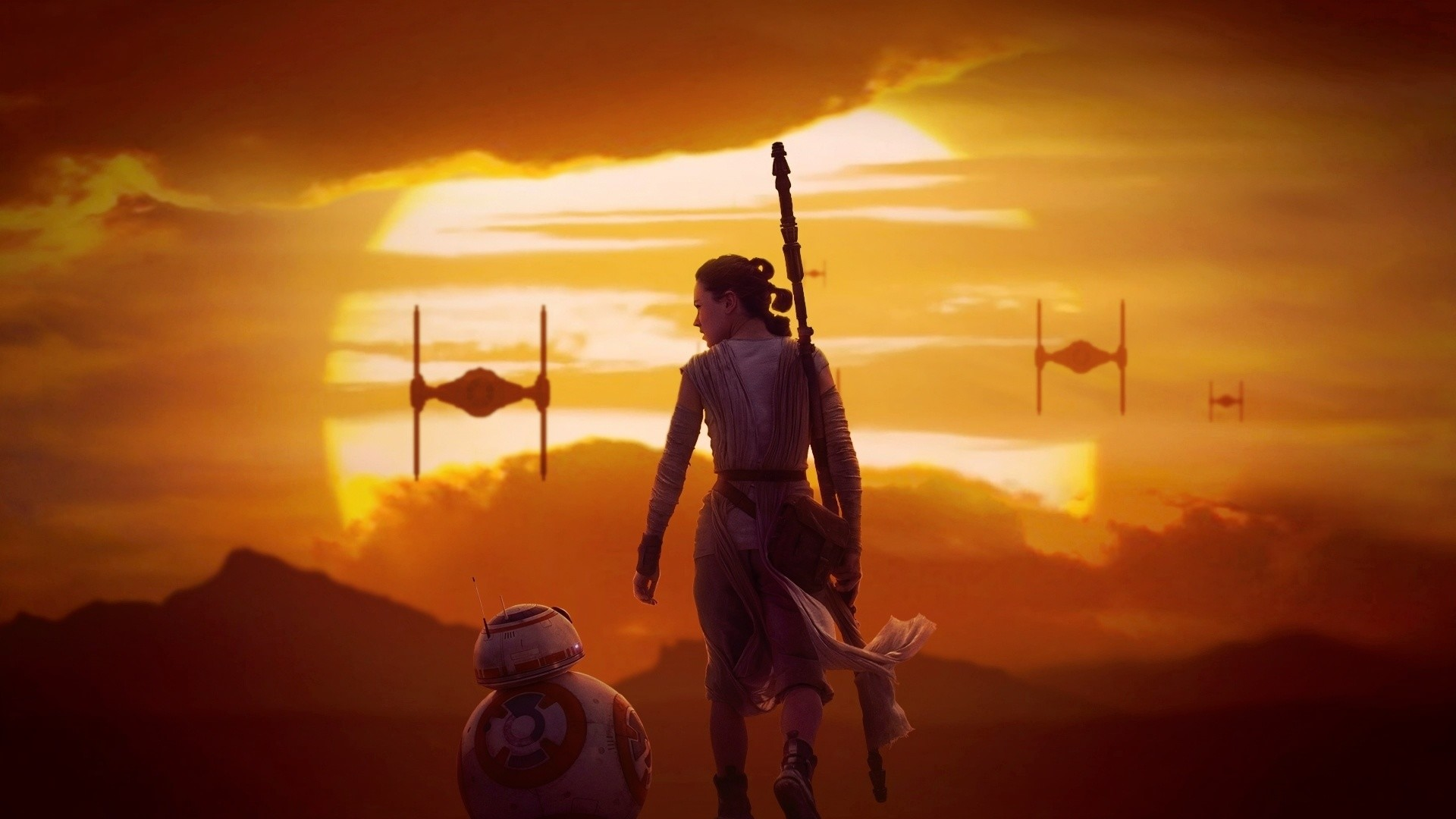 1920x1080 Rey & BB-8 at Sunset - Star Wars 7: The Force Awakens