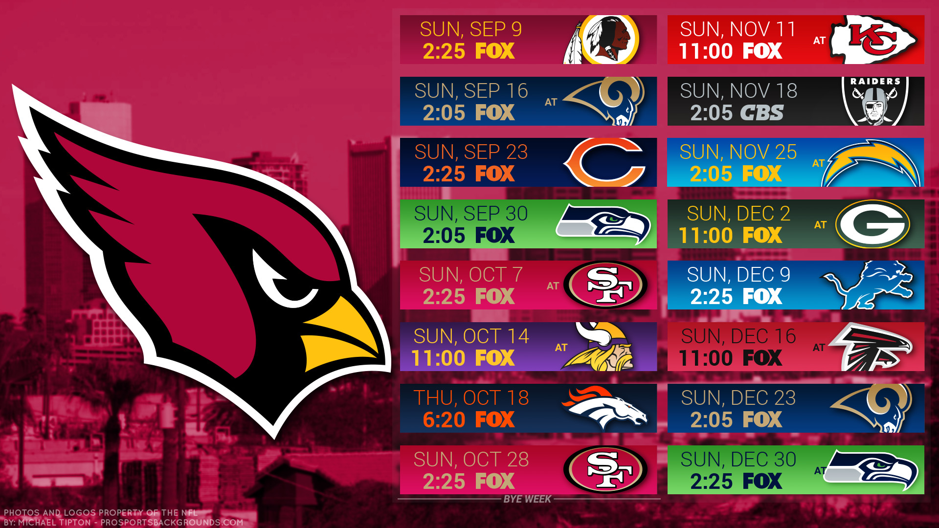 1920x1080 Arizona Cardinals 2018 schedule city logo wallpaper free for desktop pc  iphone galaxy and andriod printable ...