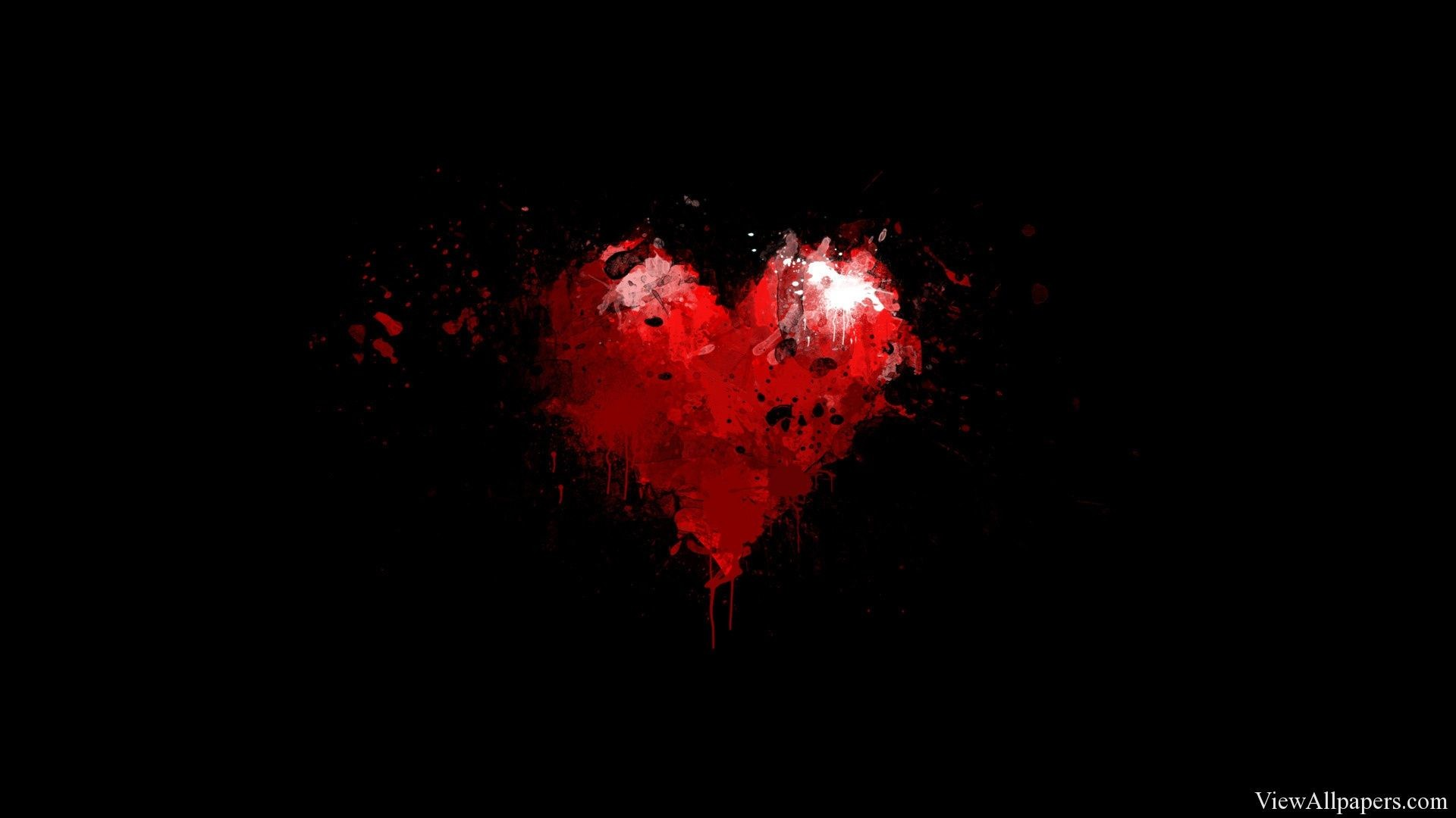 1920x1080 Painted Red Heart on Black Background Wallpaper