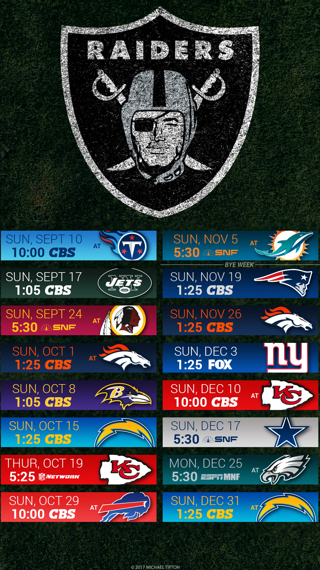 1080x1920 Oakland Raiders 2017 schedule turf logo wallpaper free iphone 5, 6, 7, ...