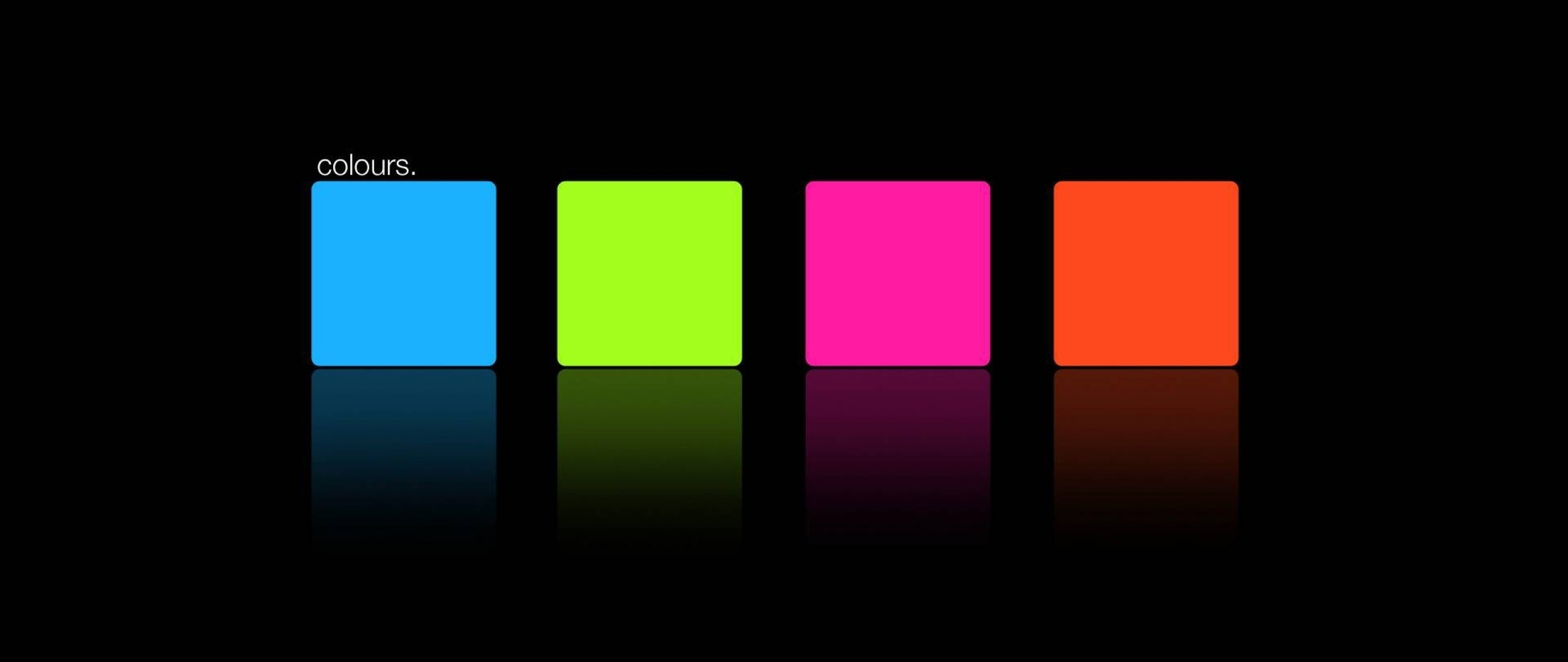 2560x1080 Preview wallpaper blue, pink, orange, green, square