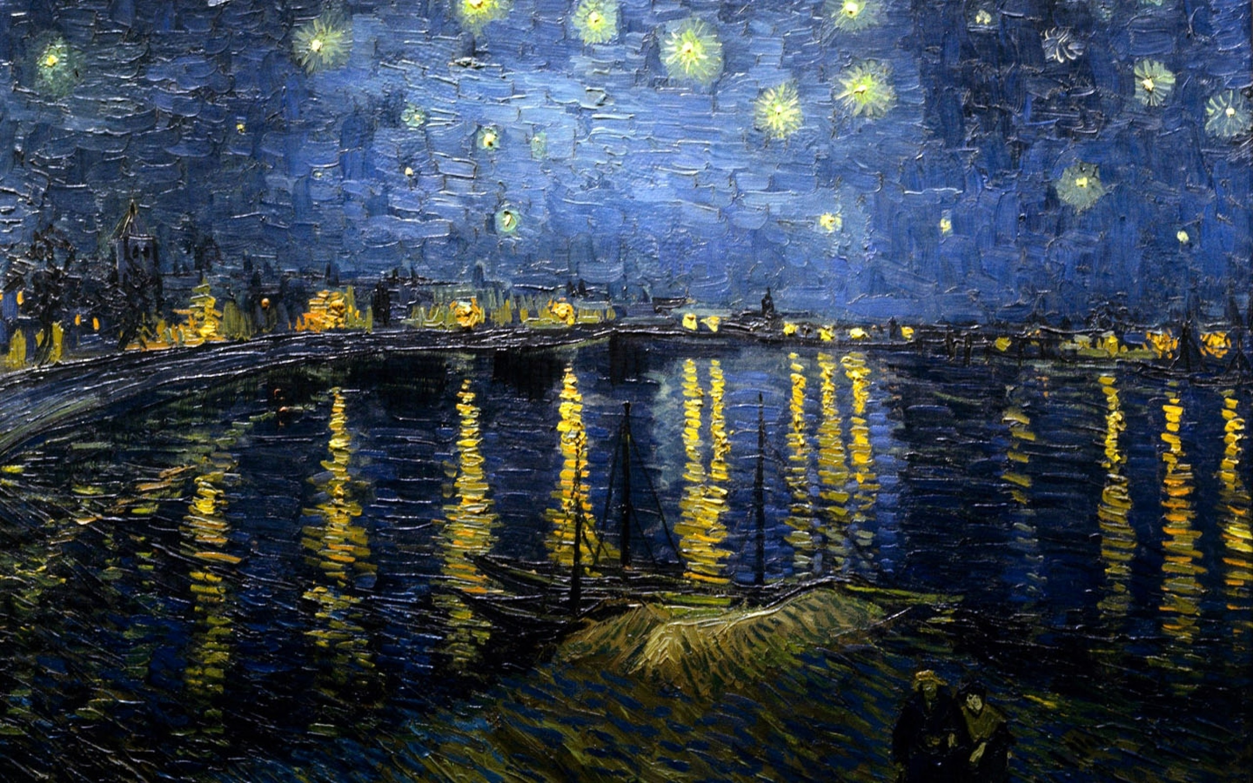 2560x1600 vincent van gogh starry night over the rhone 1440x900 wallpaper Art HD  Wallpaper