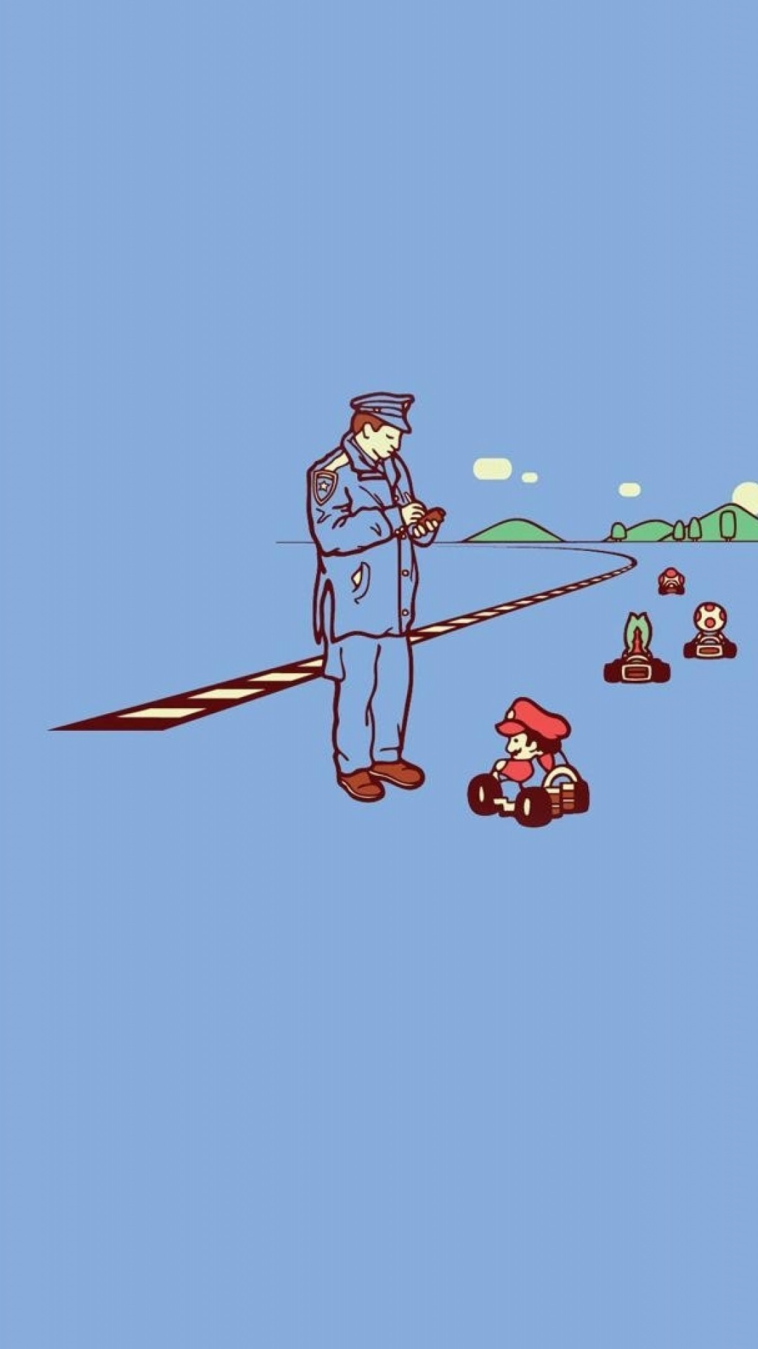 1080x1920 Preview wallpaper mario, police, road
