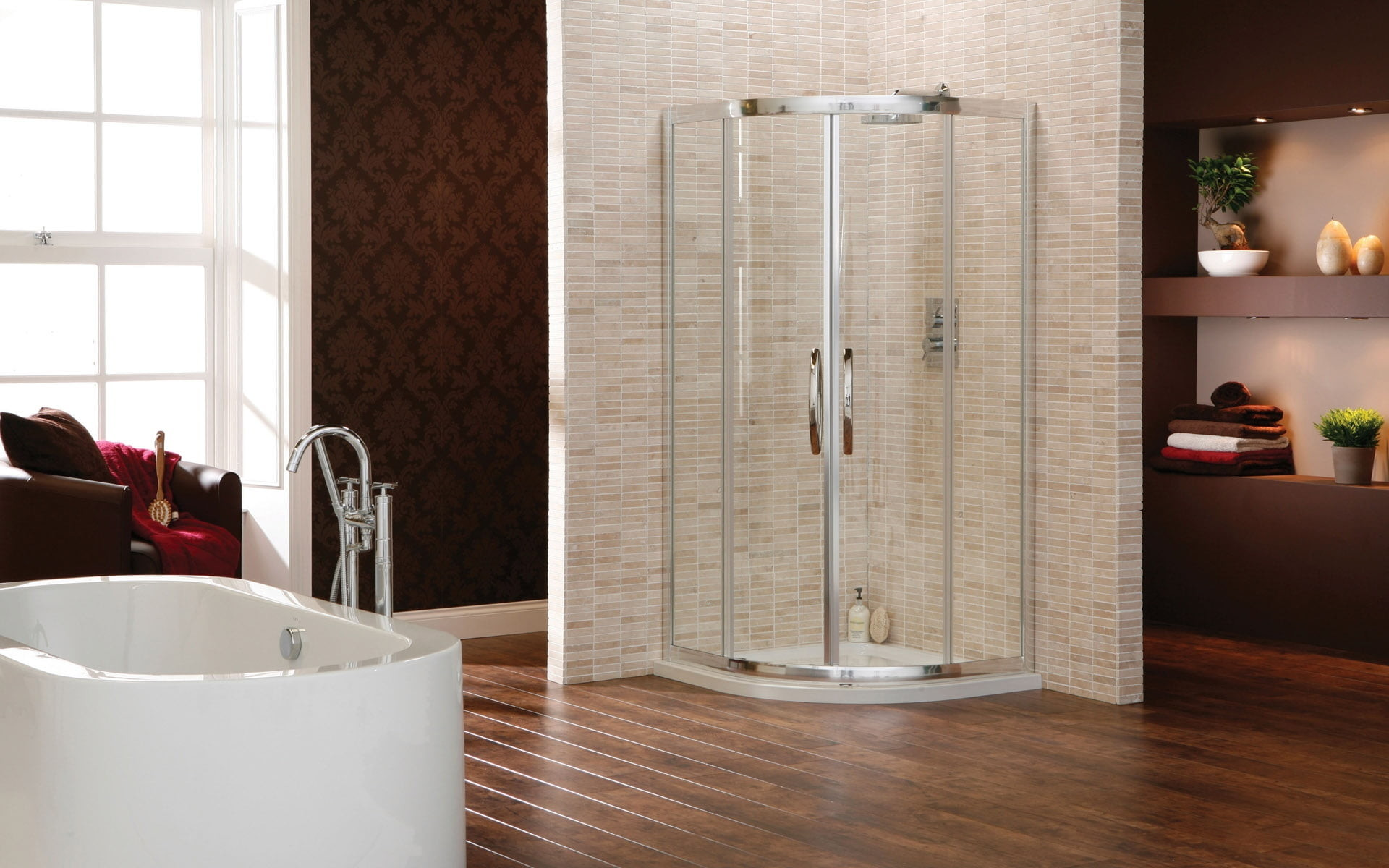 1920x1200 gray metal framed glass shower cubicle HD wallpaper