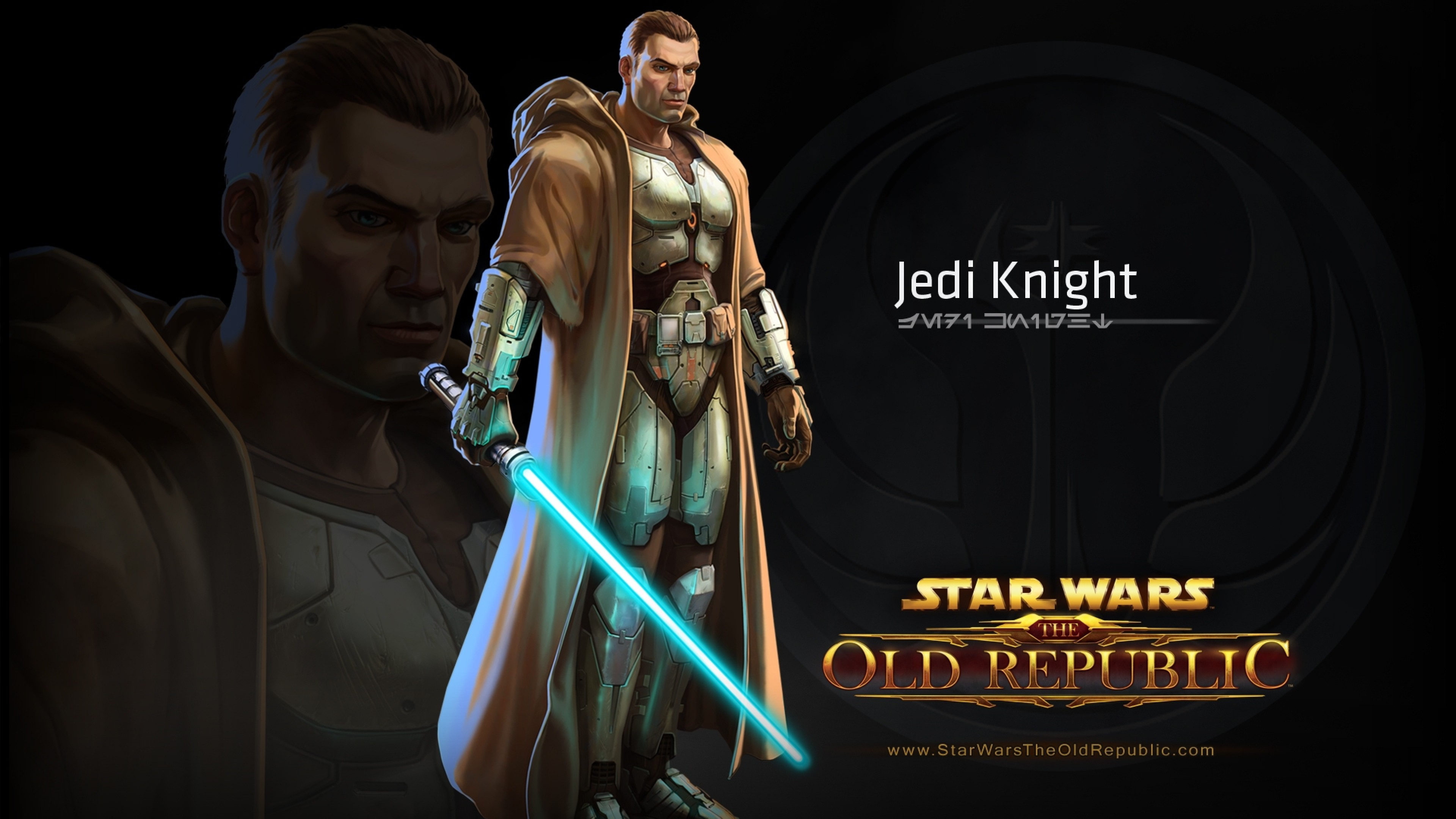 3840x2160 Preview wallpaper star wars the old republic, jedi knight, character,  lightsaber