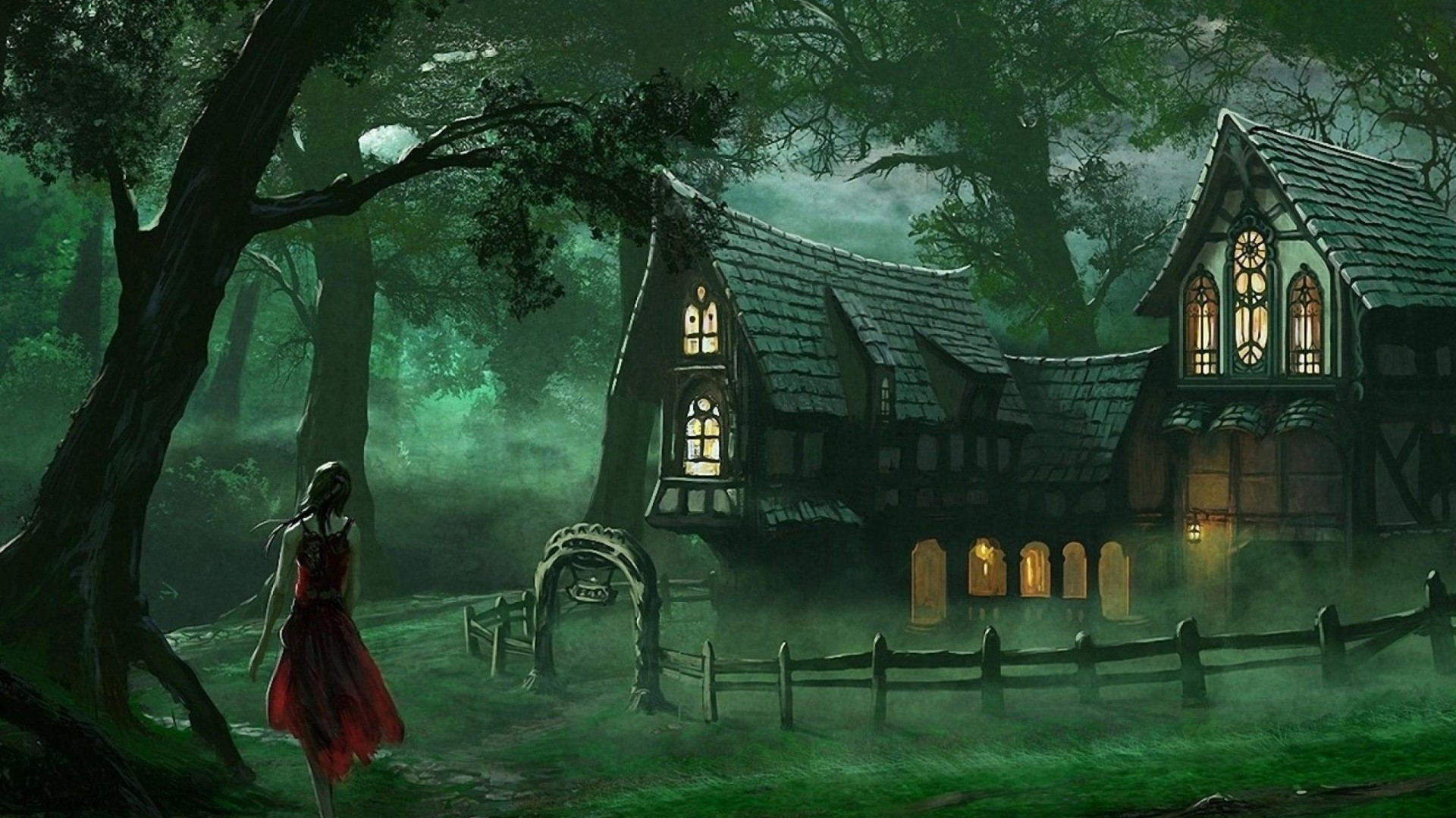 1920x1080 Spooky House Fantasy Forest Wallpaper
