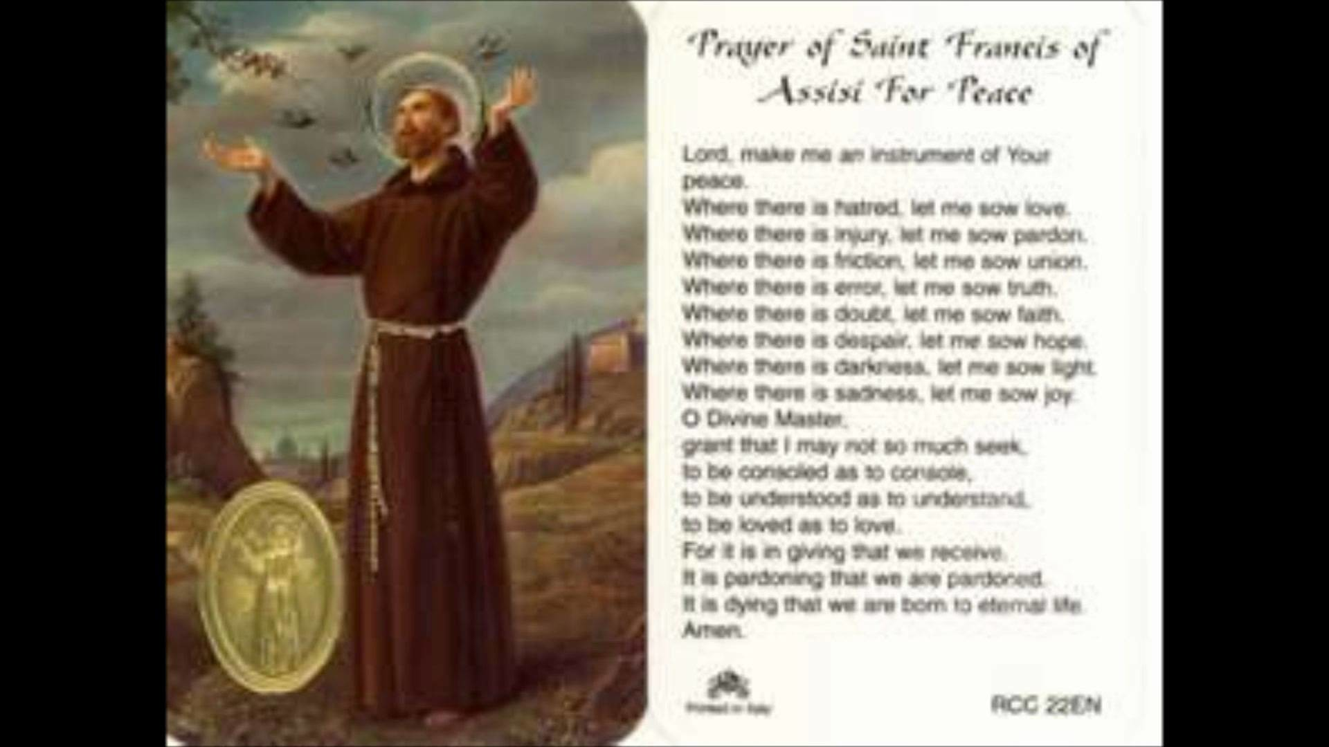 1920x1080 Eternal Life - Prayer of St. Francis of Assisi by Michael Valentine -  YouTube