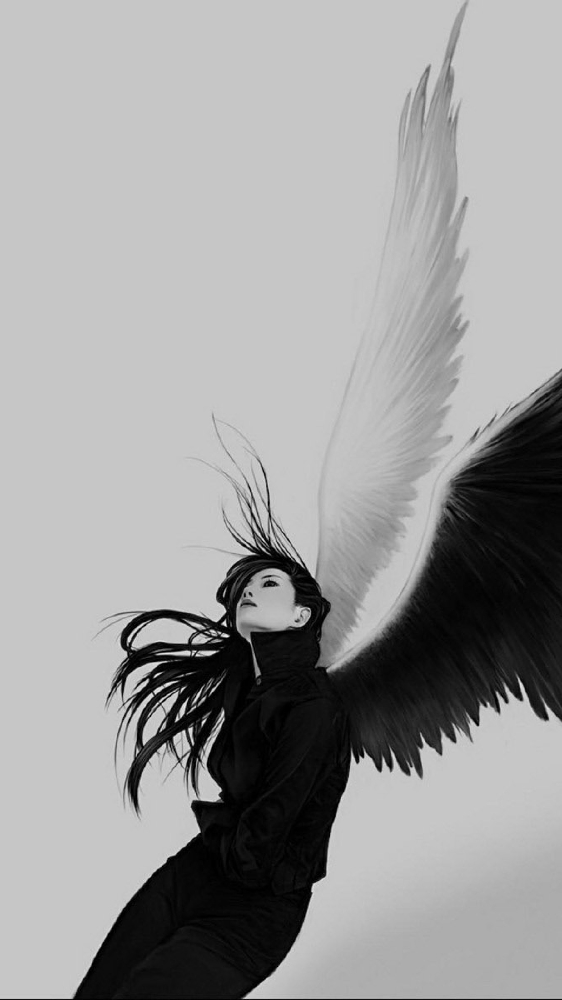 2160x3840  Wallpaper angel, wings, white, black, girl