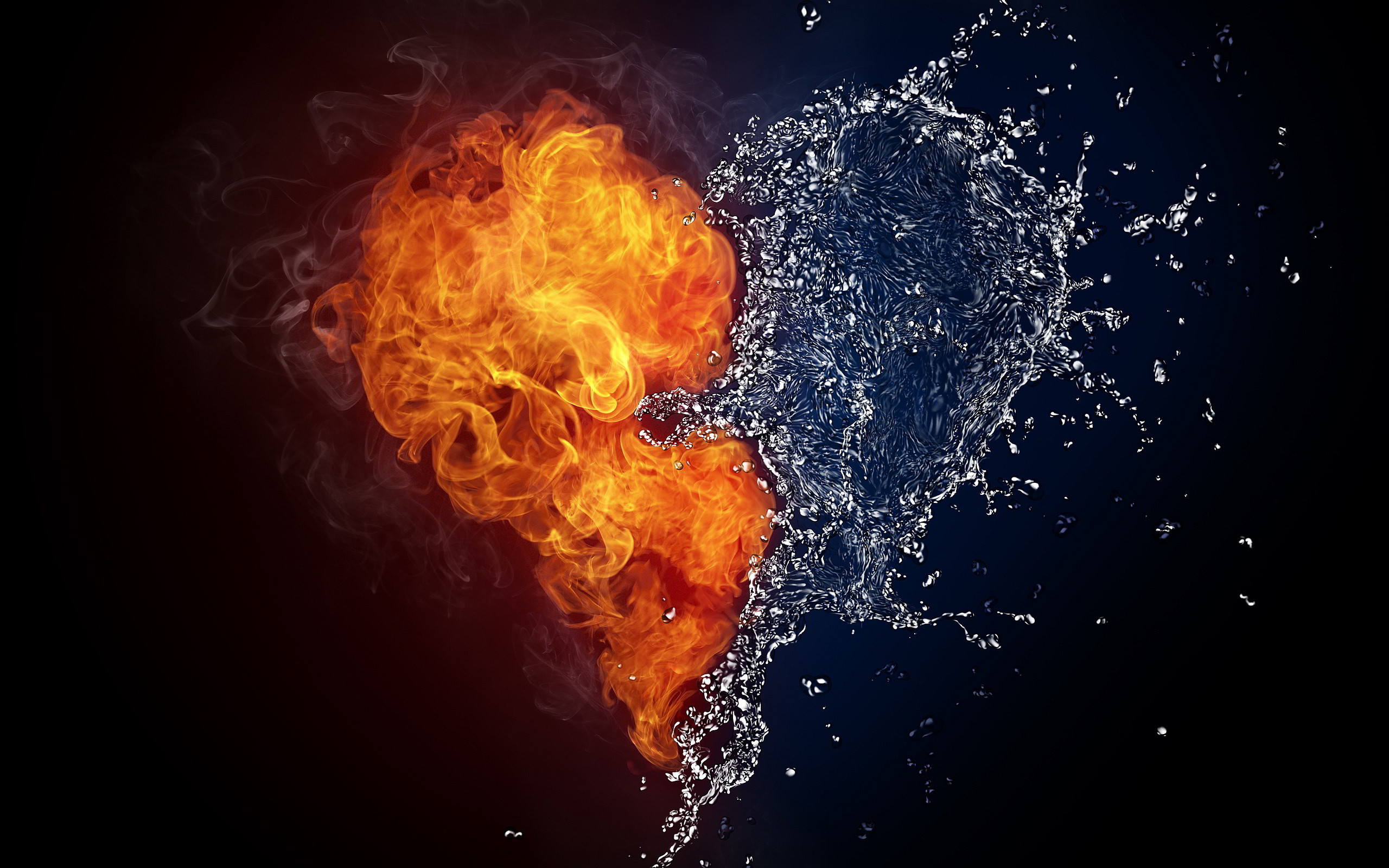 2560x1600 ... Fire Water Heart Wallpapers Pictures Photos Images ...