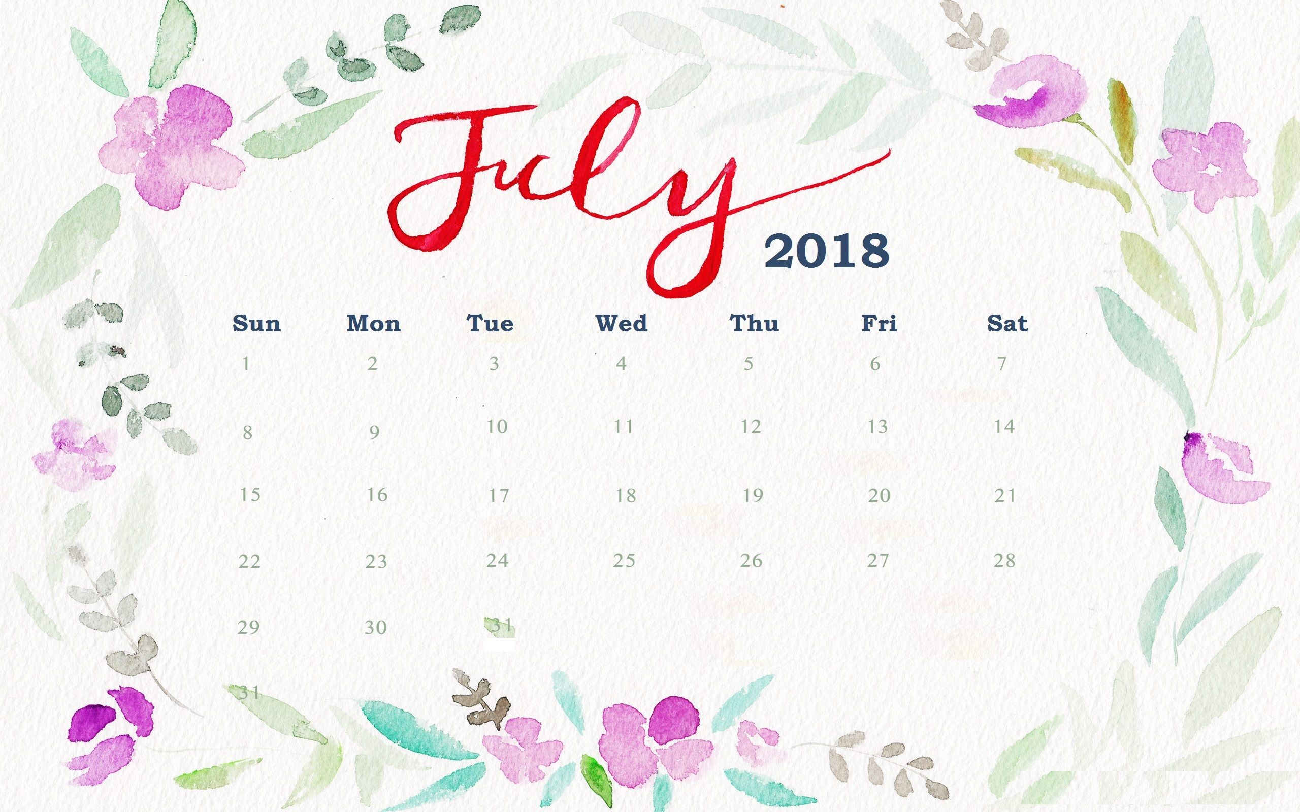 2560x1600 July 2018 Floral Desktop Calendar