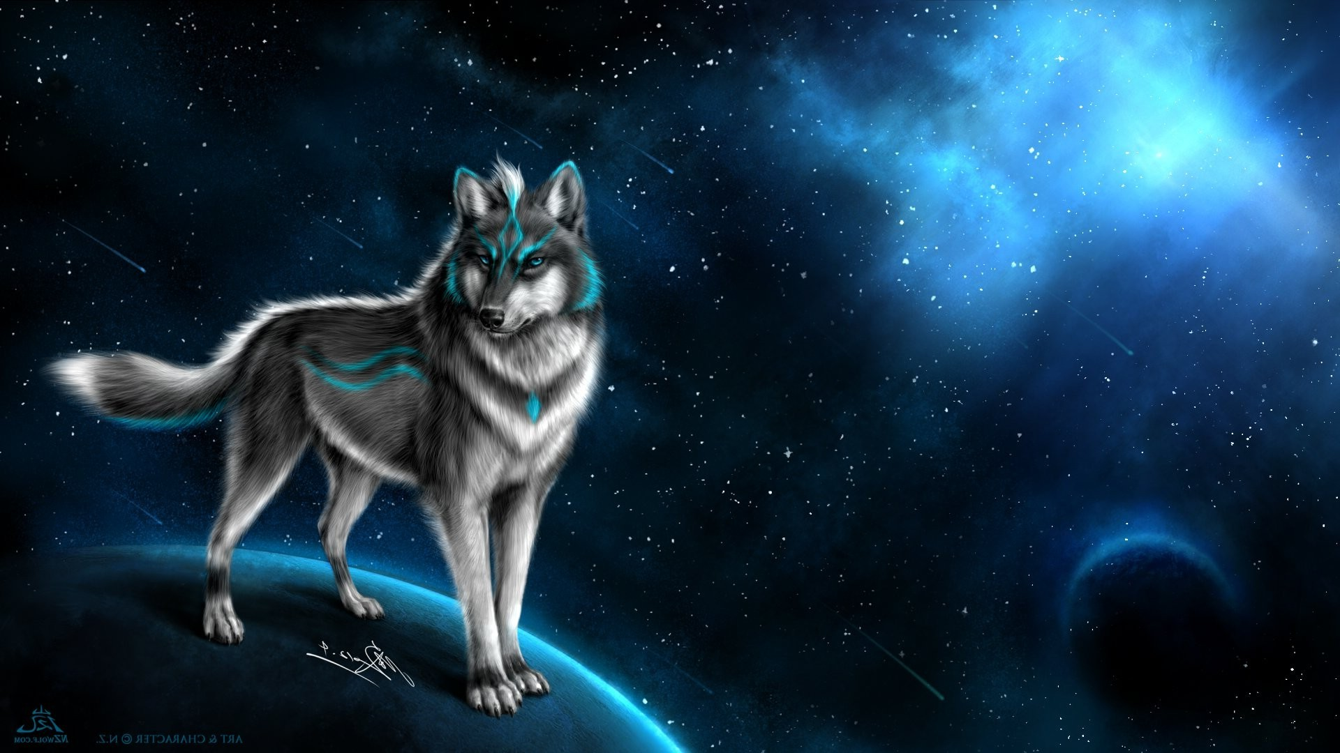 1920x1080 wolf, Animals, Fantasy Art, Artwork, Space, Stars, Planet, Digital Art  Wallpapers HD / Desktop and Mobile Backgrounds