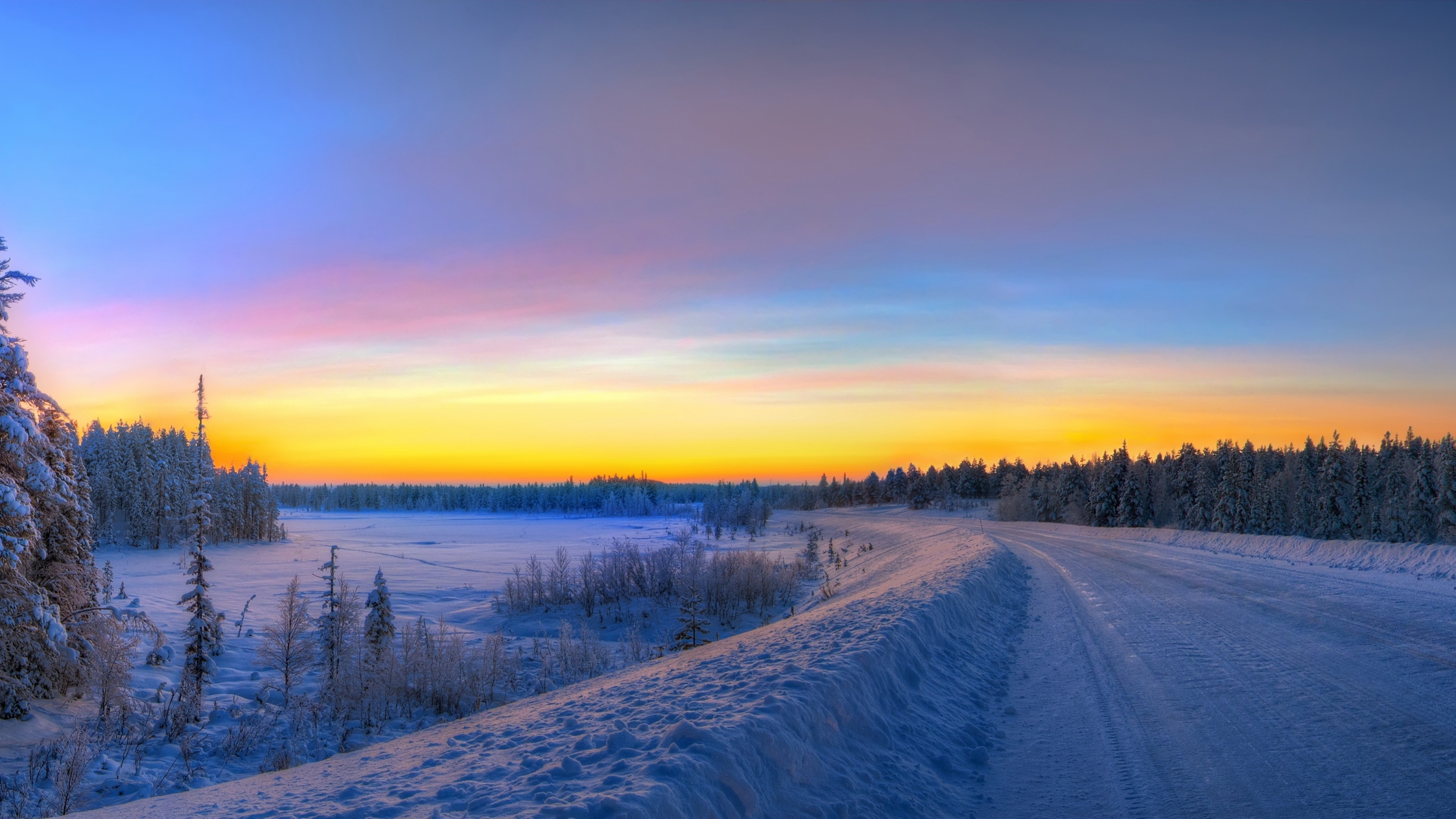 3840x2160 Preview wallpaper panorama, sunset, road, winter, landscape