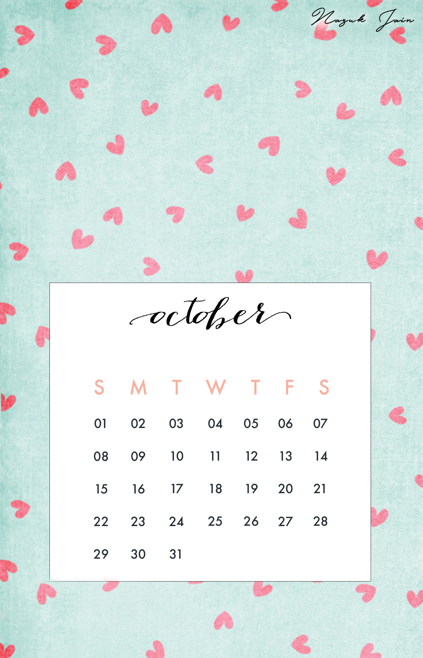 1350x2100 Wallpaper backgrounds · October - Free Calendar Printables 2017 by Nazuk  Jain