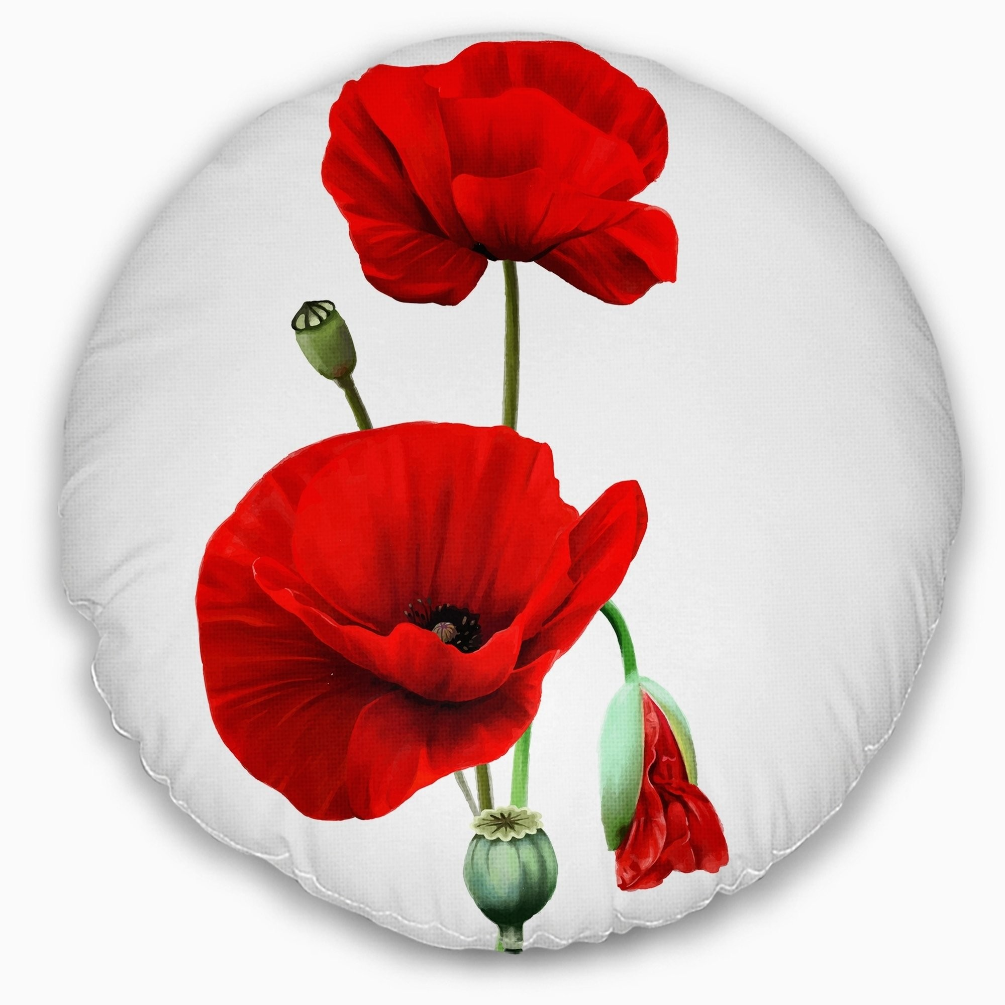 2000x2000 Shop Designart 'Red Poppies on White Background' Floral Throw Pillow - On  Sale - Free Shipping On Orders Over $45 - Overstock - 20952116