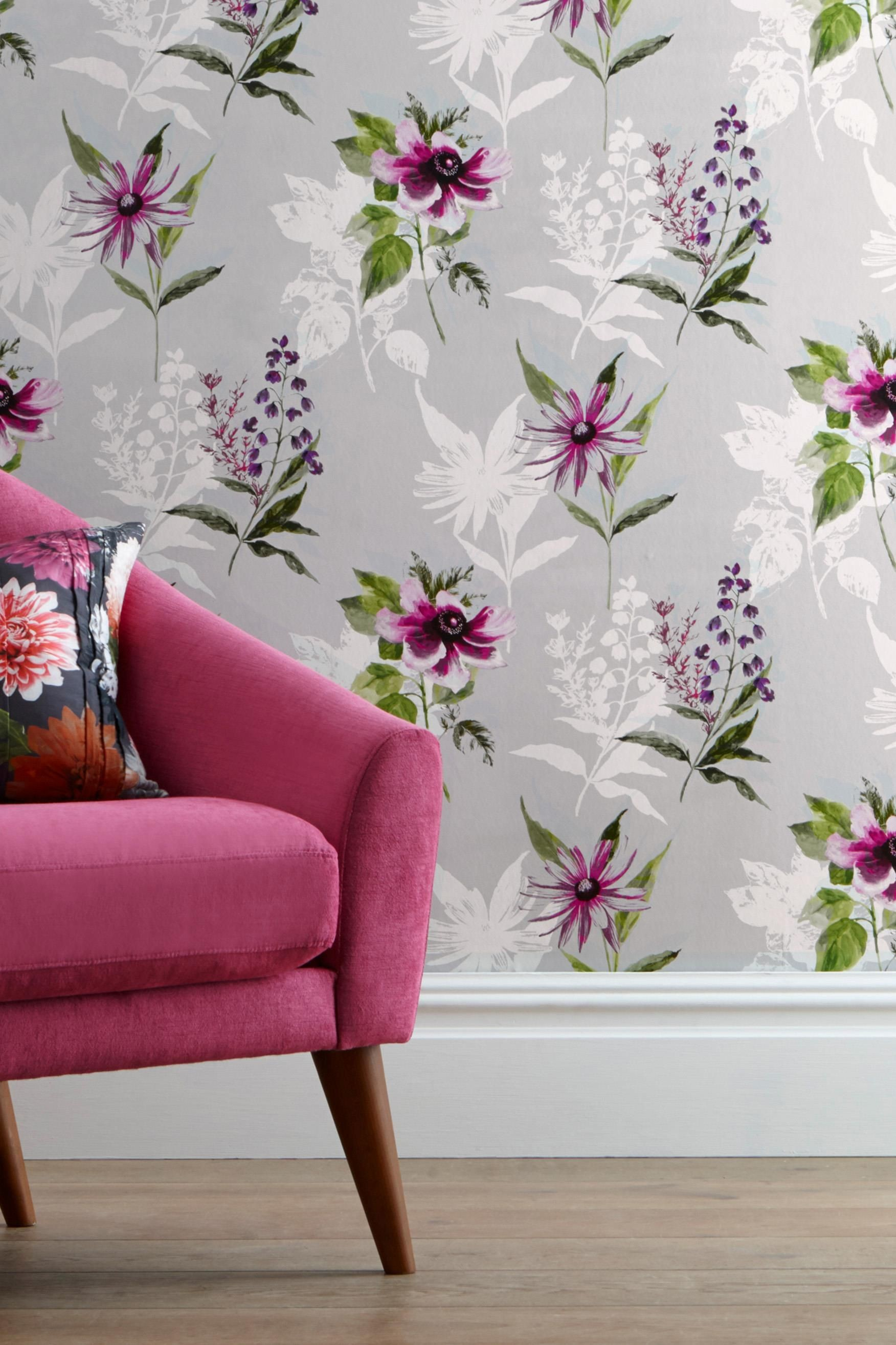 1752x2628 Vibrant Floral Wallpaper from Next UK - pick out darker pink/purple for  dramatic accent wall