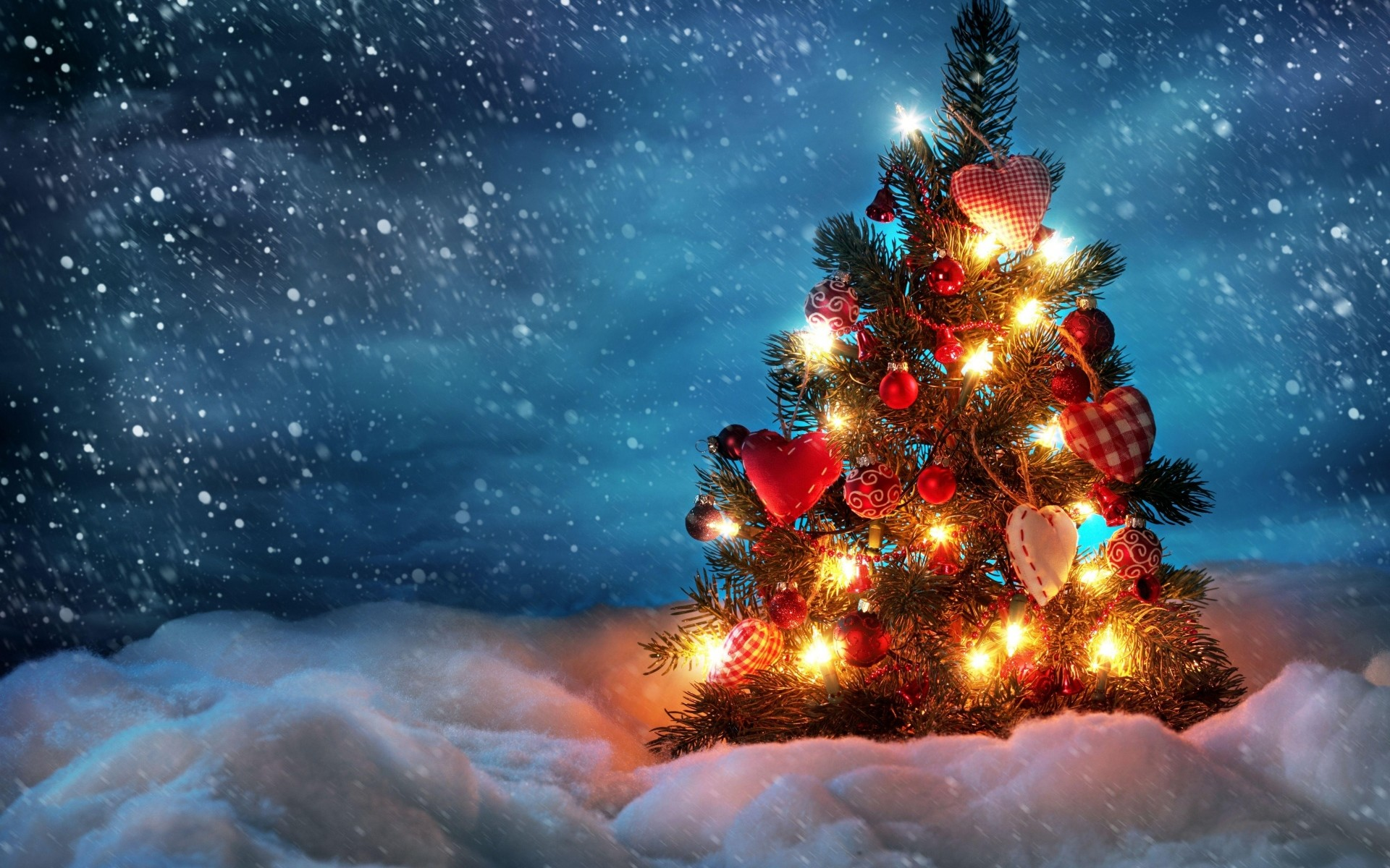 1920x1200 Preview wallpaper tree, new year, christmas, snow, holiday, night, garland
